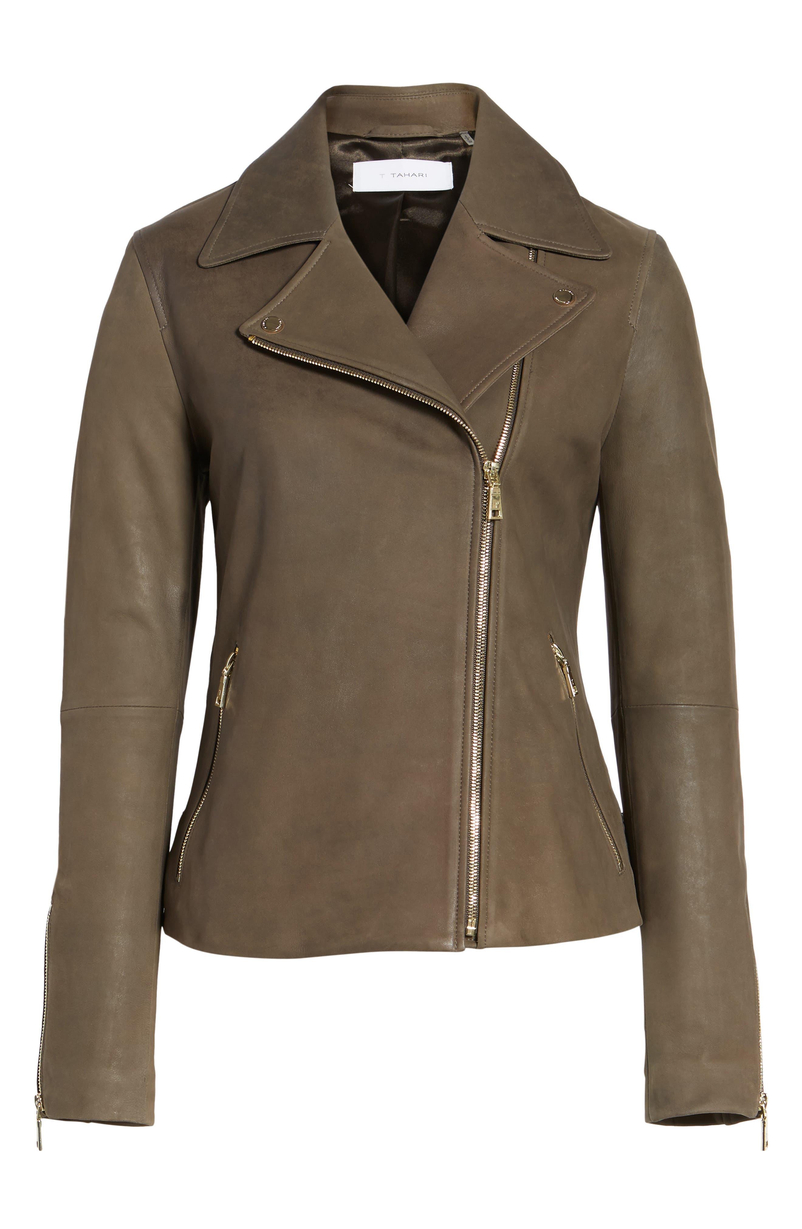 Alternate Image 6  - Tahari Skylar Leather Moto Jacket