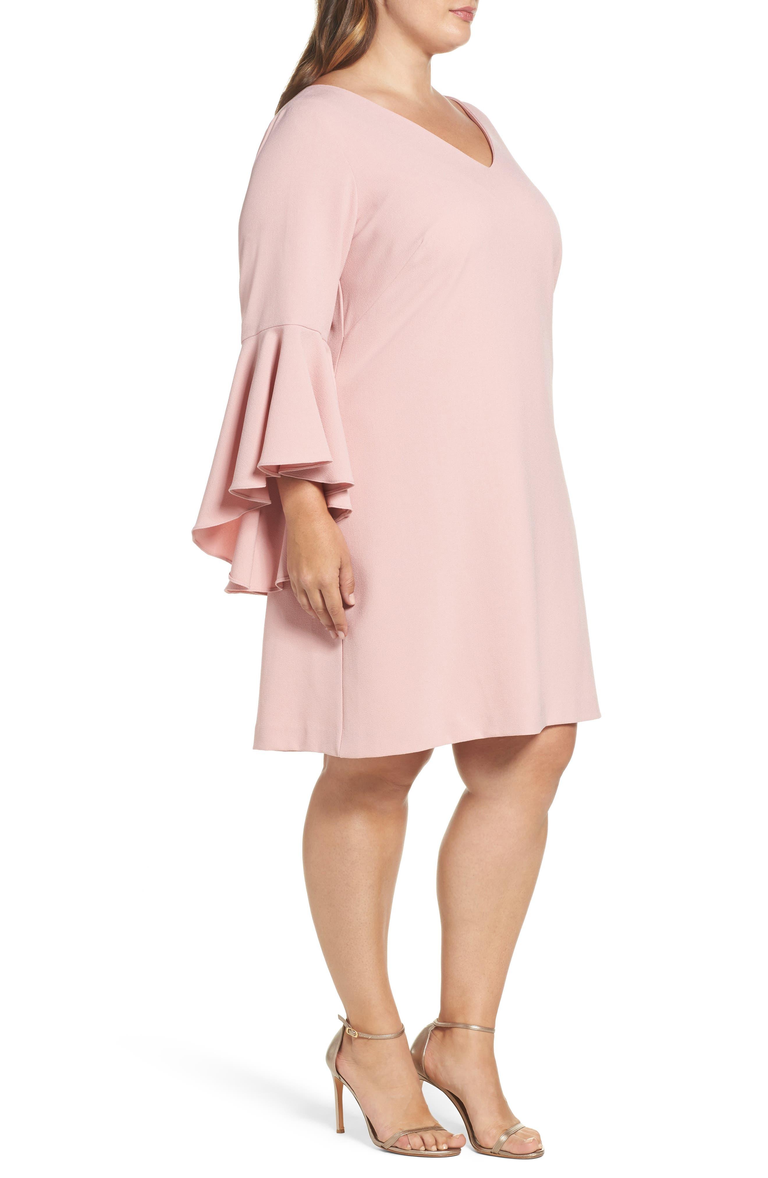 Bell Sleeve Crepe Shift Dress,                             Alternate thumbnail 4, color,                             Blush