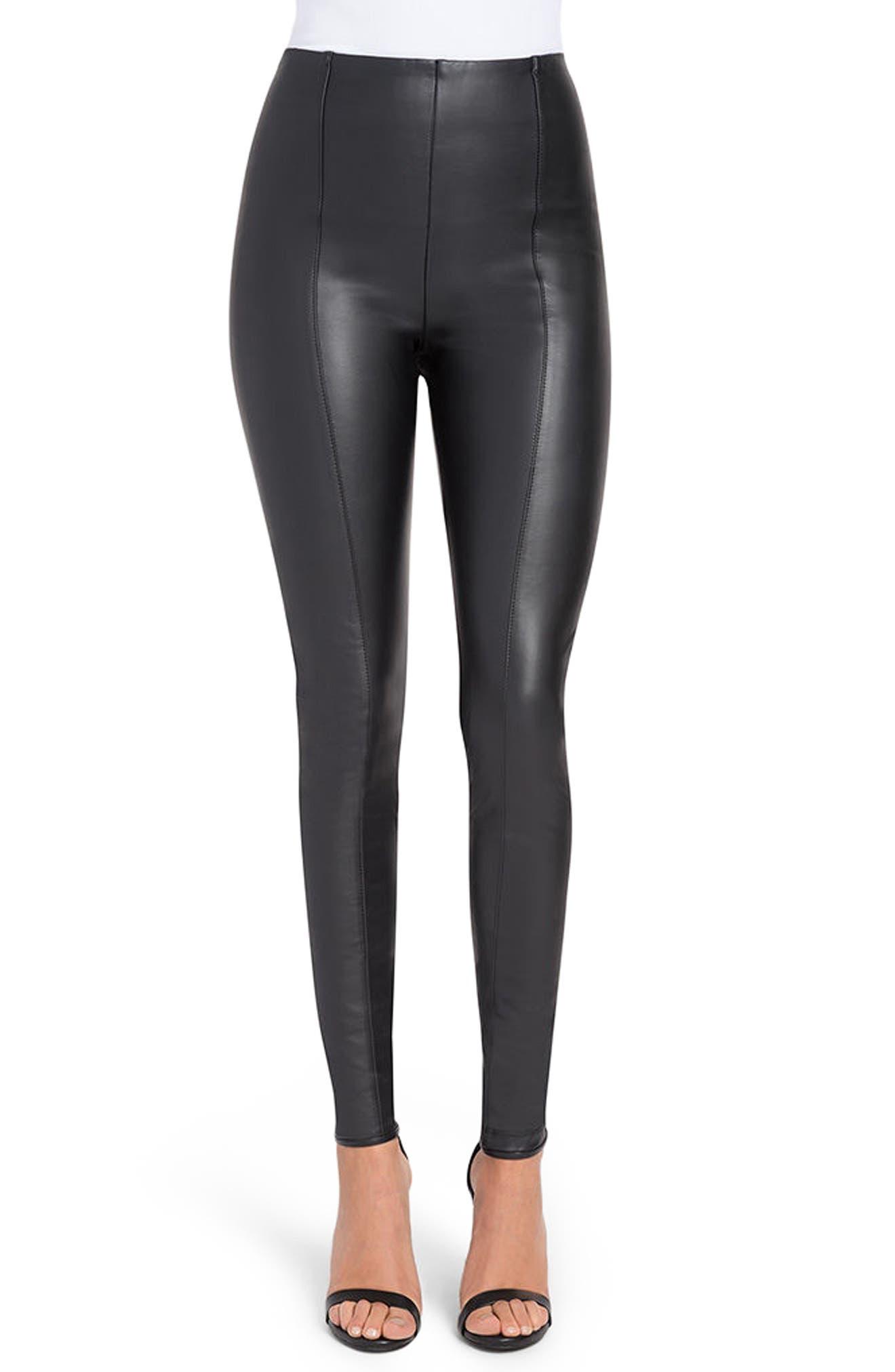 High Waist FauxLeather Leggings,                         Main,                         color, Black