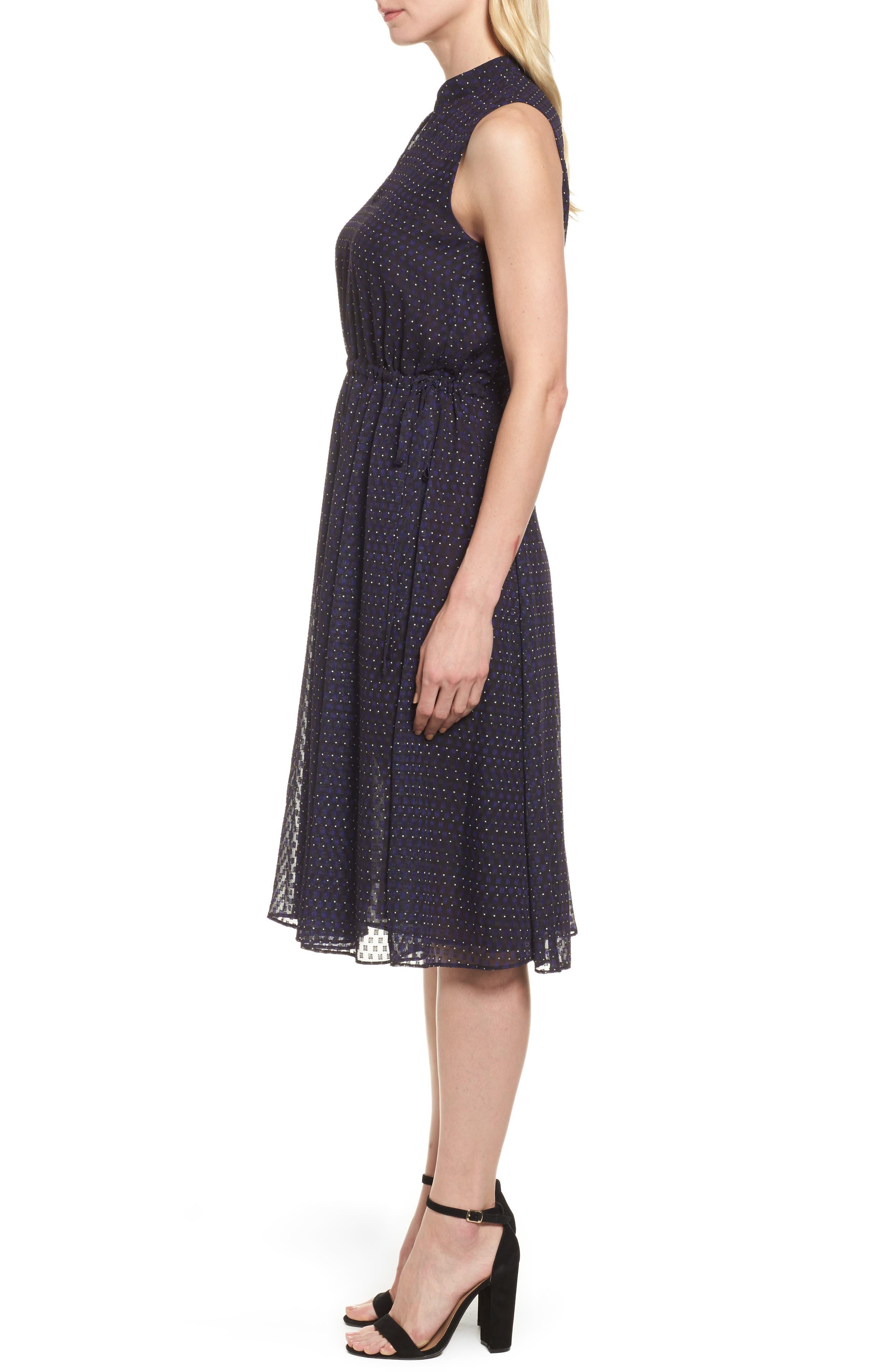 Print A-Line Dress,                             Alternate thumbnail 3, color,                             African Violet Combo