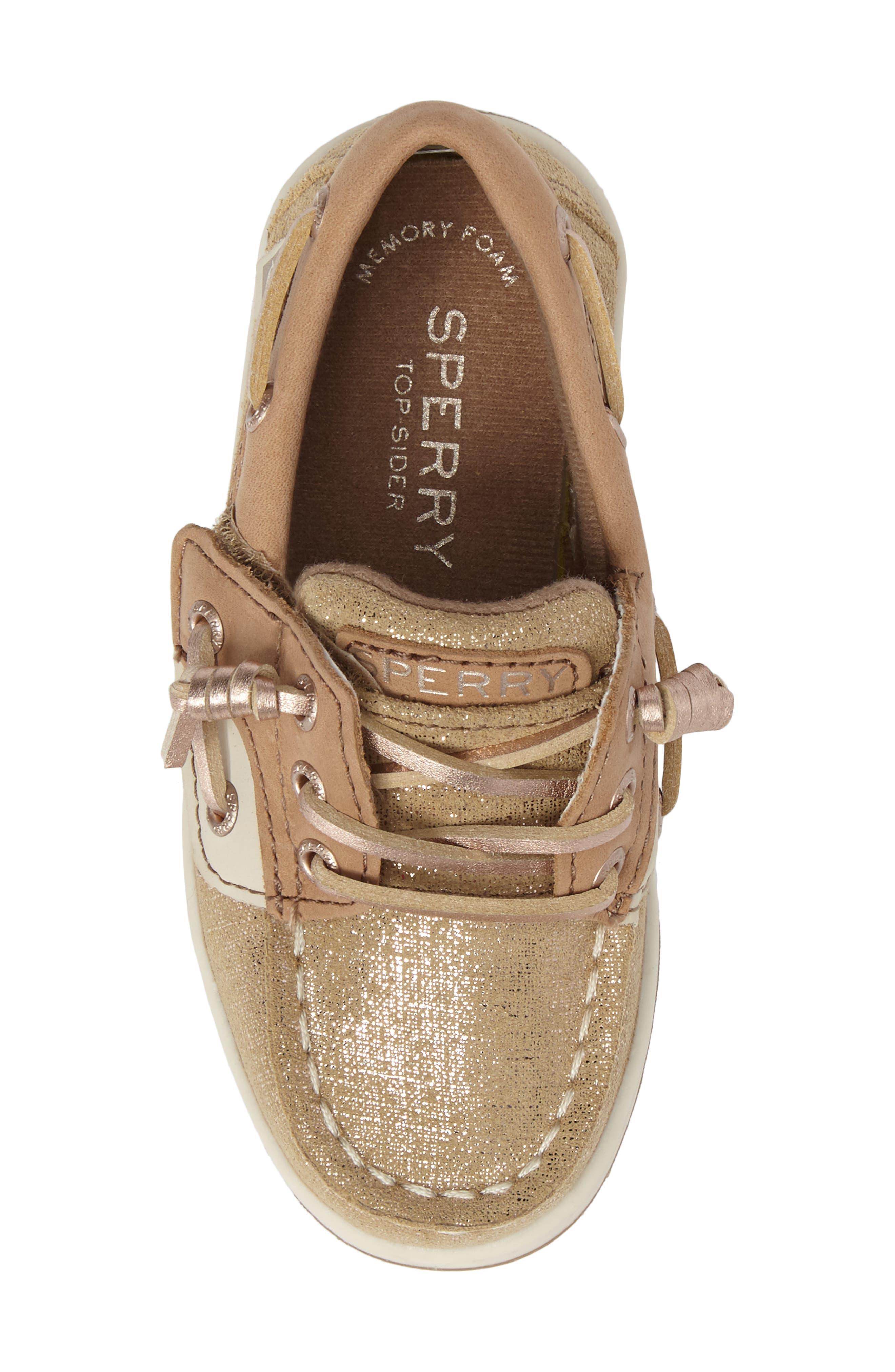 'Songfish Jr' Boat Shoe,                             Alternate thumbnail 5, color,                             Linen/ Gold