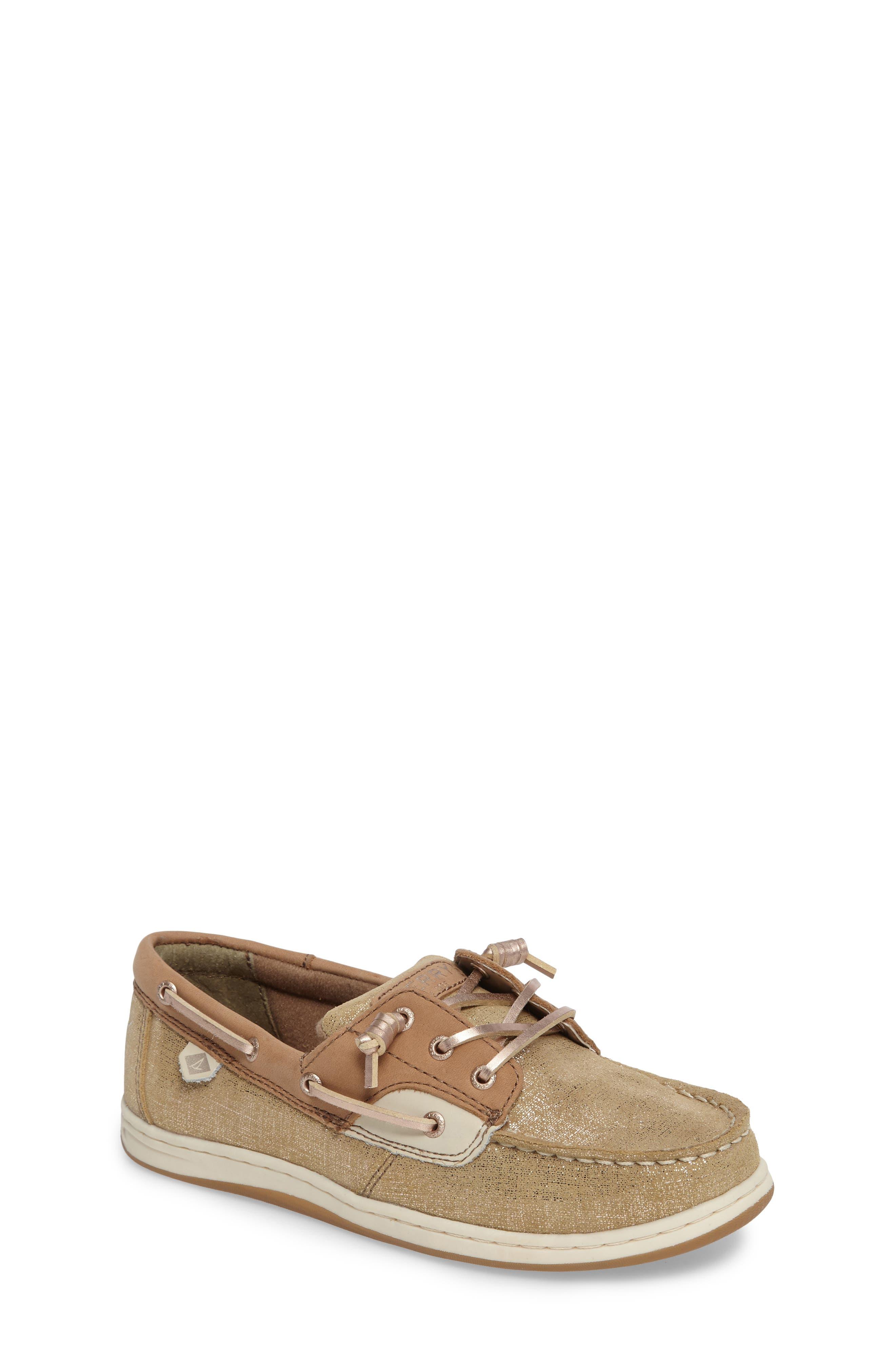'Songfish' Boat Shoe,                             Main thumbnail 1, color,                             Linen/ Gold