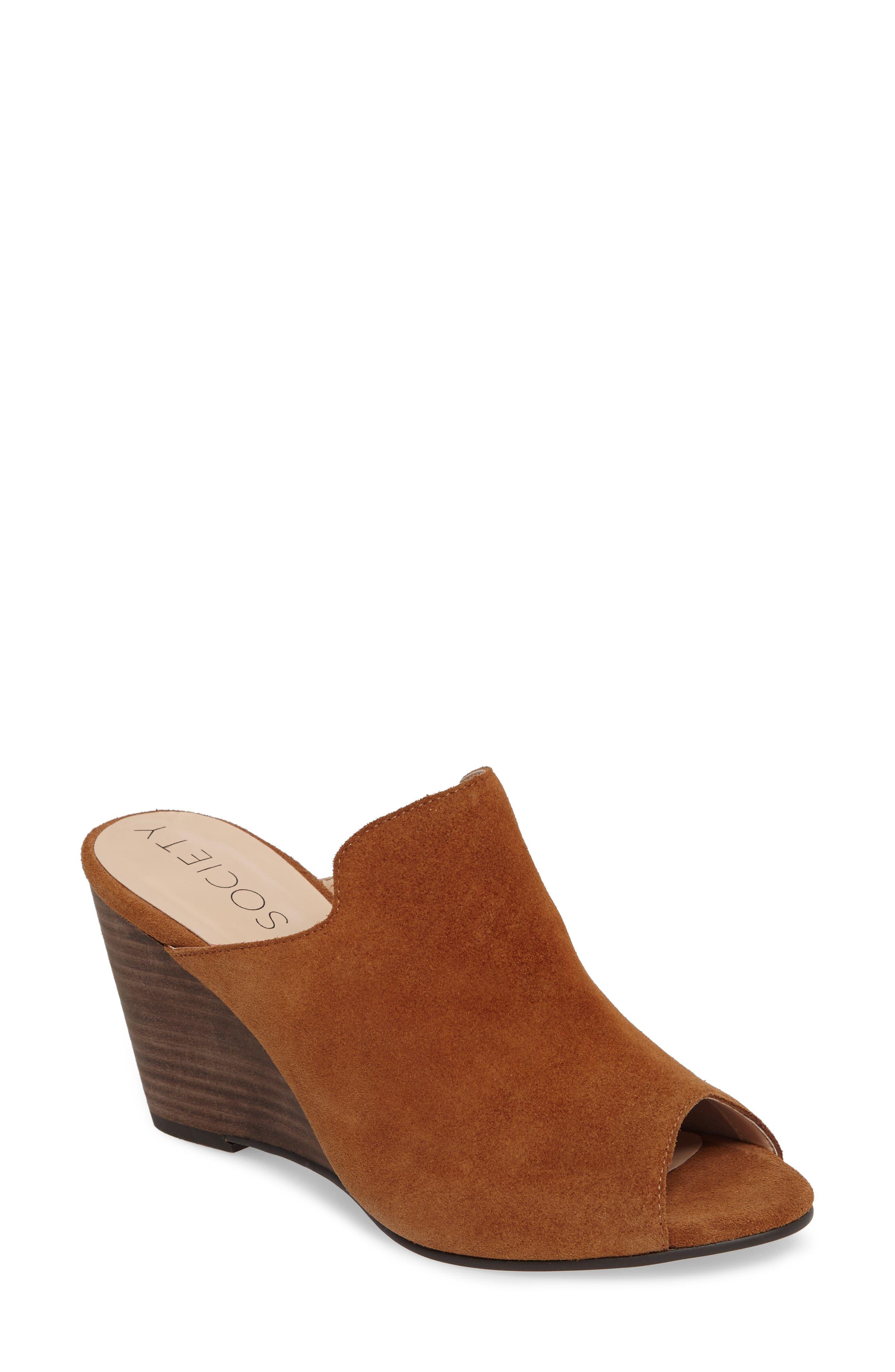 Drew Open-Toe Wedge Mule,                         Main,                         color, Cognac Suede