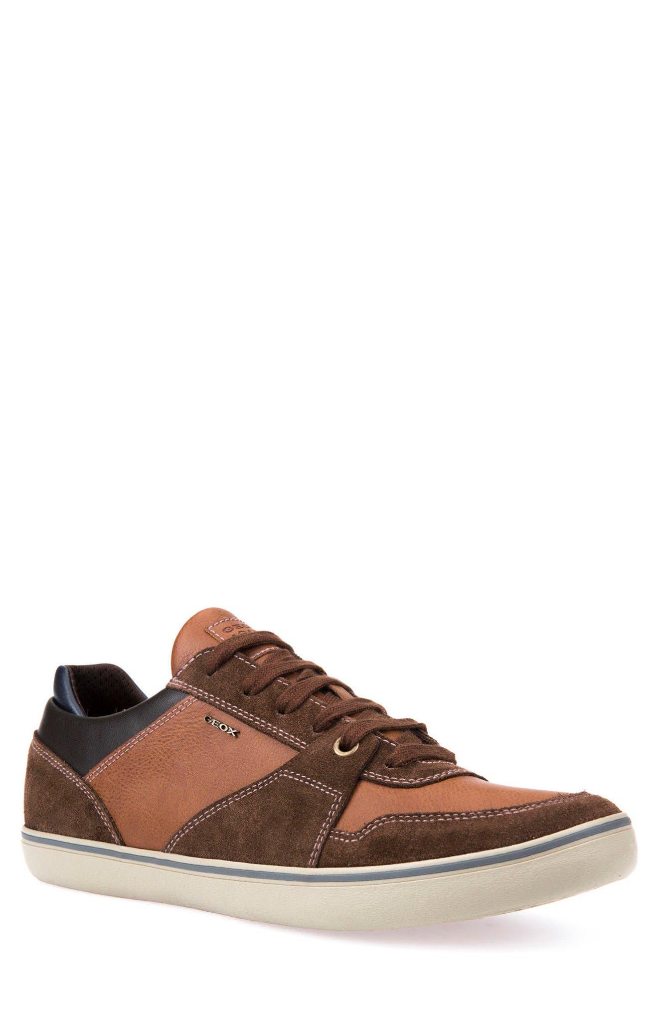 Box 27 Low-Top Sneaker,                         Main,                         color, Ebony/ Brown Cotto
