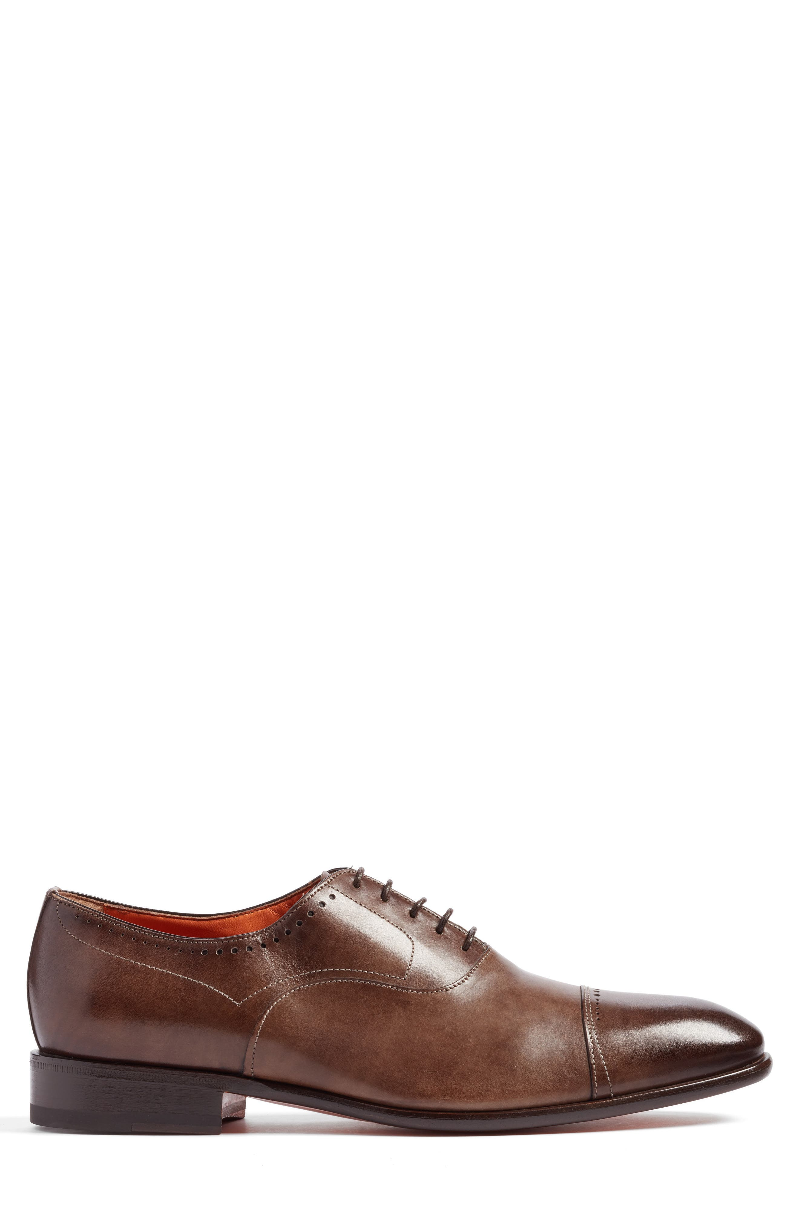 Thurman Cap Toe Oxford,                             Alternate thumbnail 3, color,                             Dark Brown Leather