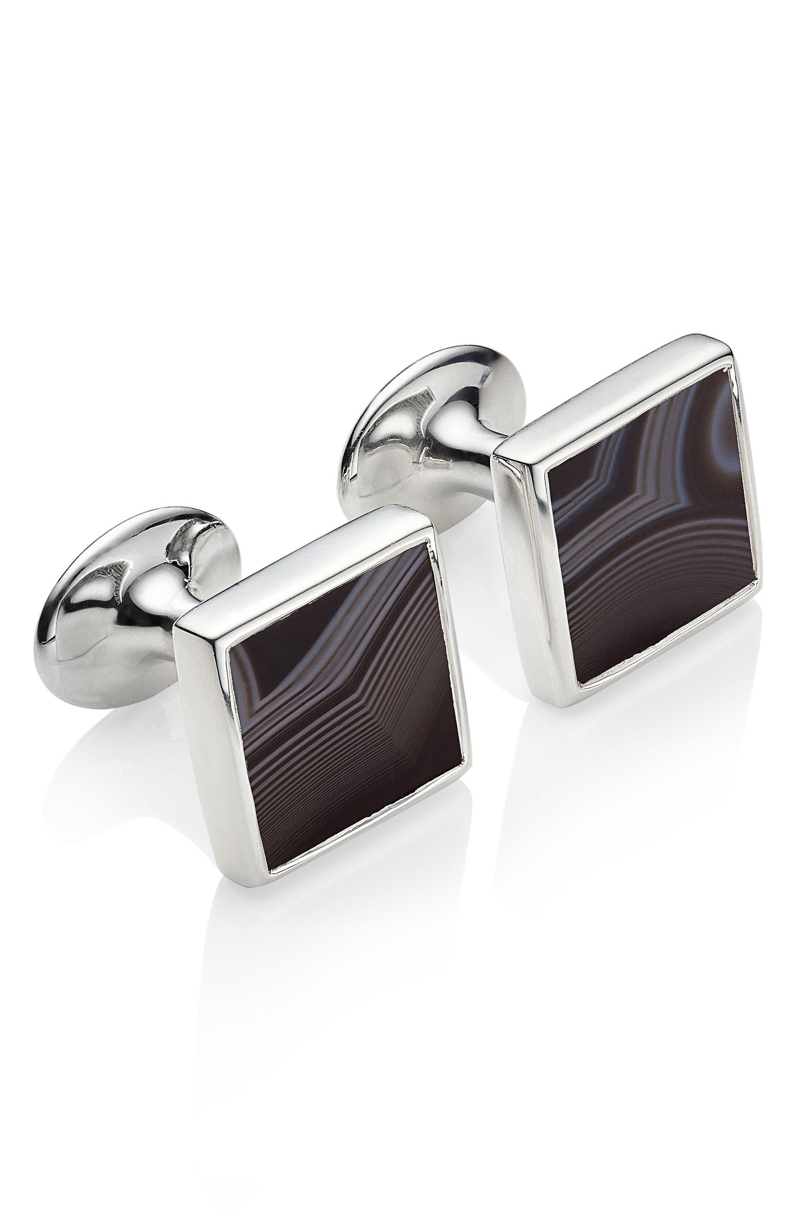 Alta Black Onyx Square Cuff Links,                         Main,                         color, Silver/ Black Line Onyx