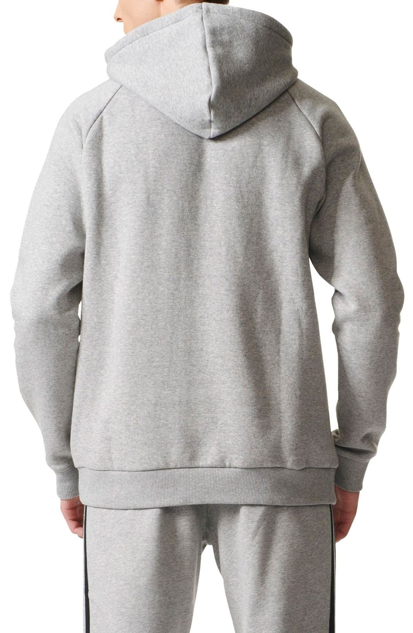 Trefoil Graphic Hoodie,                             Alternate thumbnail 4, color,                             Medium Grey Heather