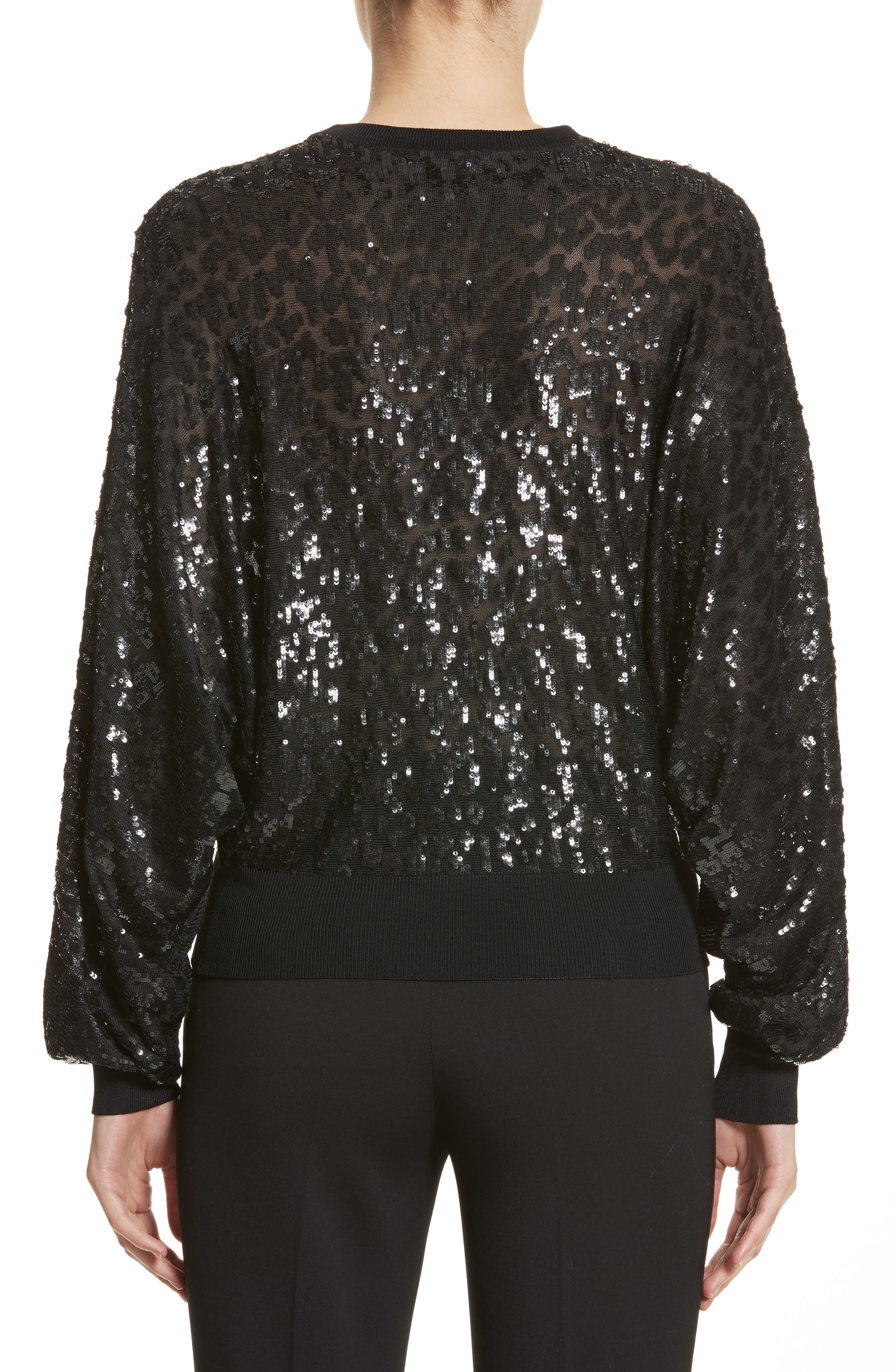 Sequined Tulle Leopard Sweater,                             Alternate thumbnail 2, color,                             Black/ Black
