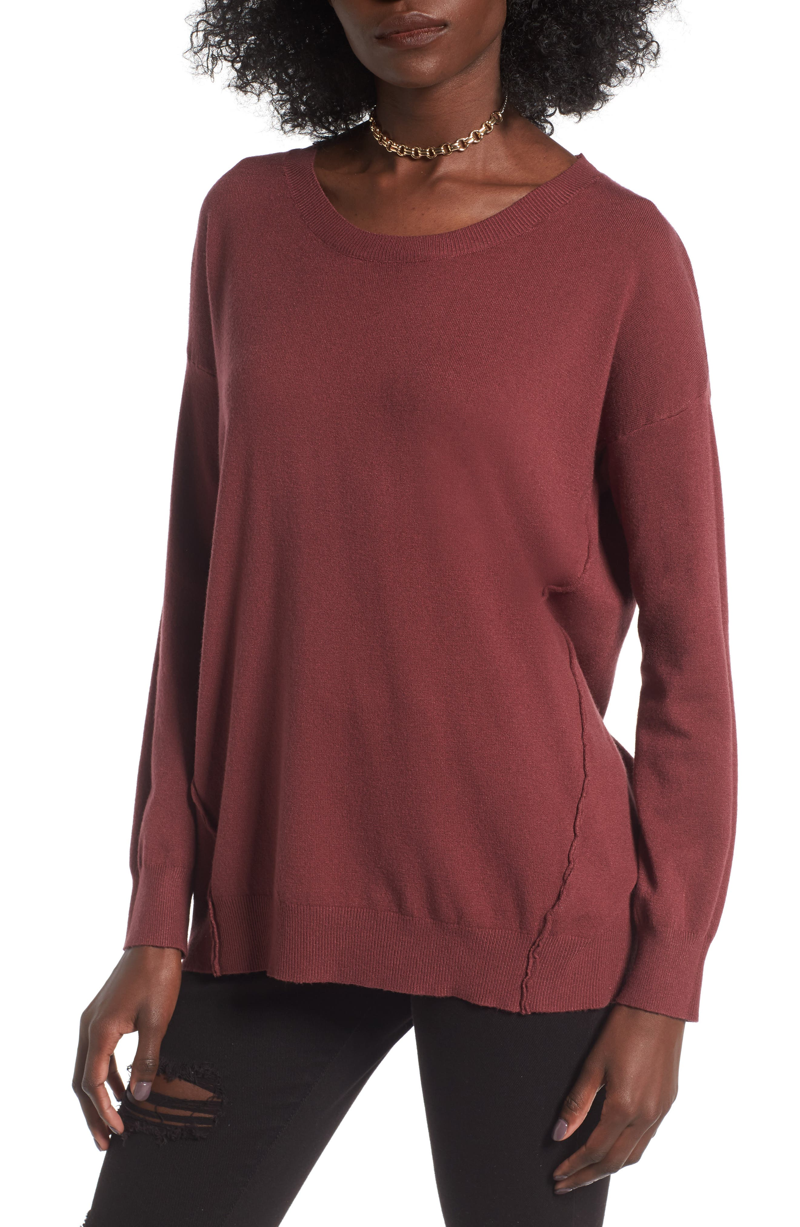 Alternate Image 1 Selected - Dreamers by Debut Forward Seam Tunic Sweater