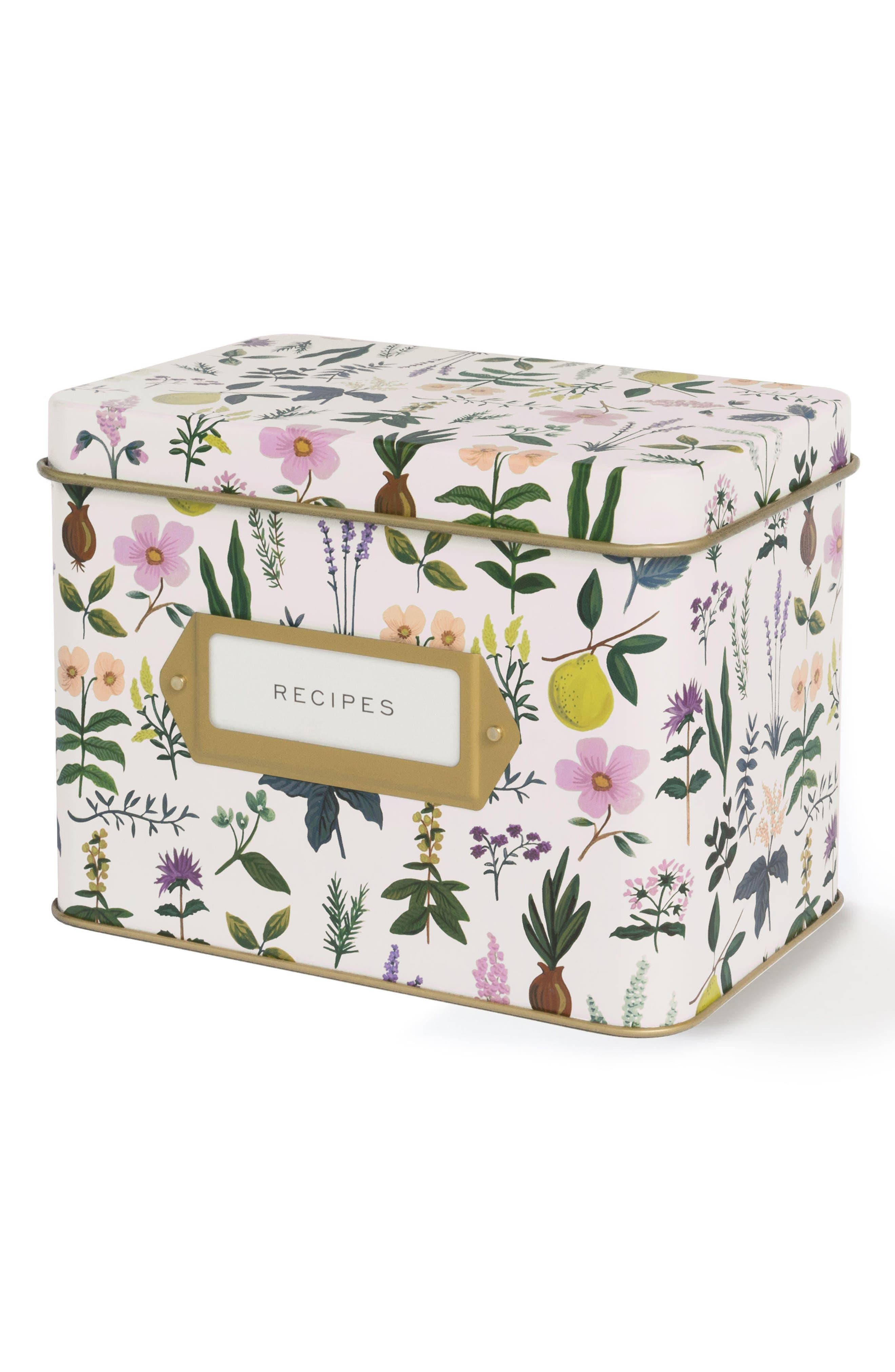 Herb Garden Recipe Tin,                         Main,                         color, White