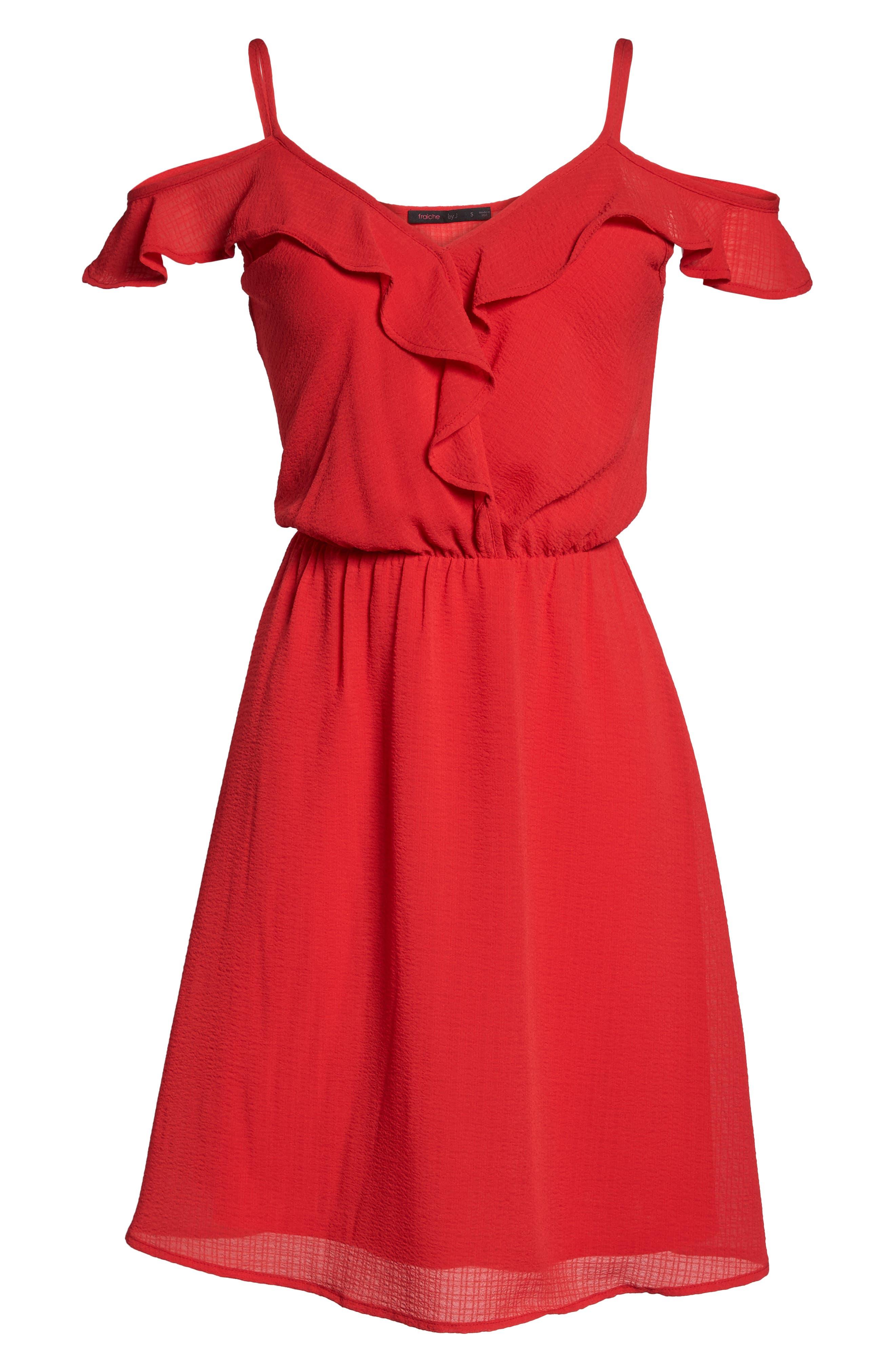 Ruffle Cold Shoulder Dress,                             Alternate thumbnail 6, color,                             Tomato