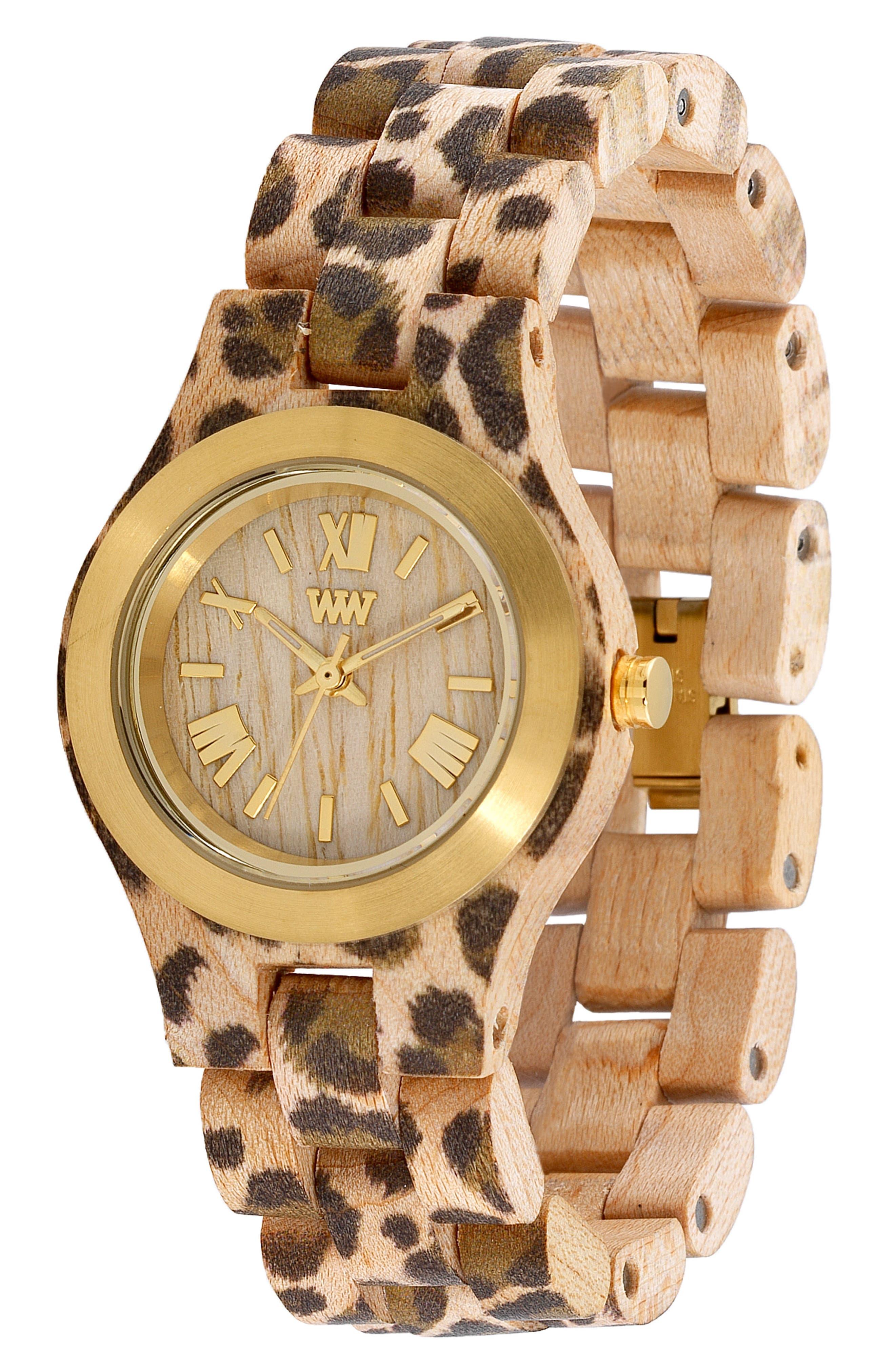 Criss Wood Bracelet Watch, 31mm,                             Alternate thumbnail 3, color,                             Cheetah Print/ Tan/ Gold