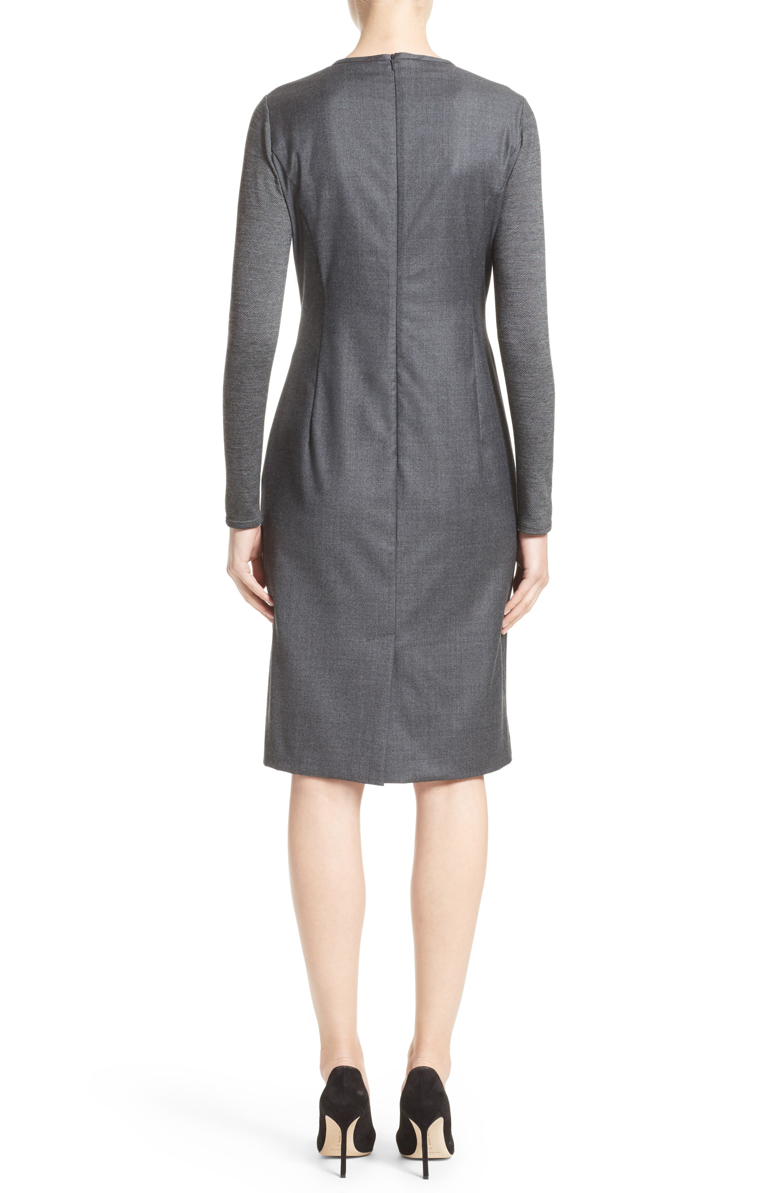 Ragazza Gathered Wool Dress,                             Alternate thumbnail 2, color,                             Dark Grey
