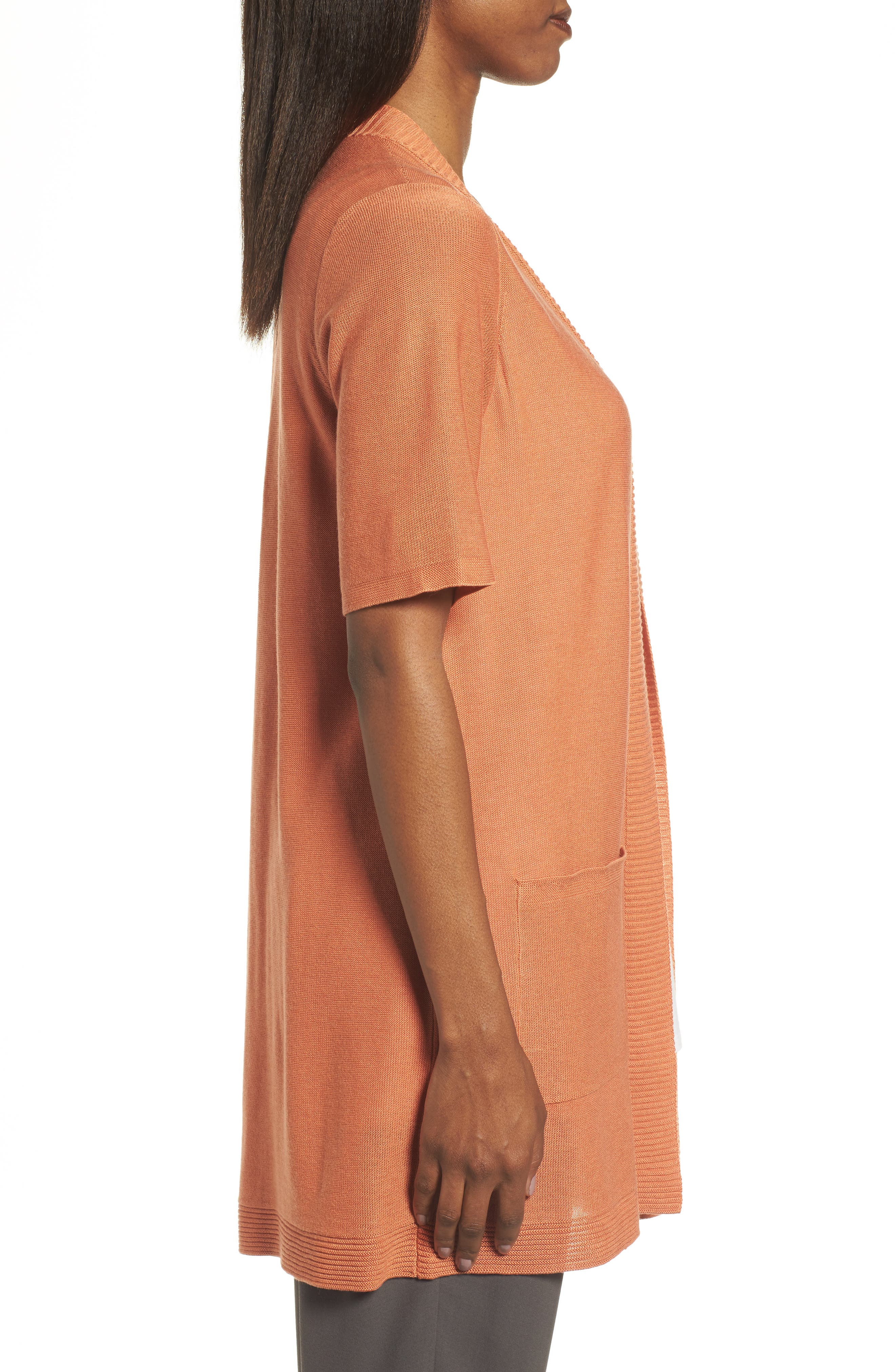 Simple Tencel<sup>®</sup> & Merino Wool Cardigan,                             Alternate thumbnail 3, color,                             Pumpkin