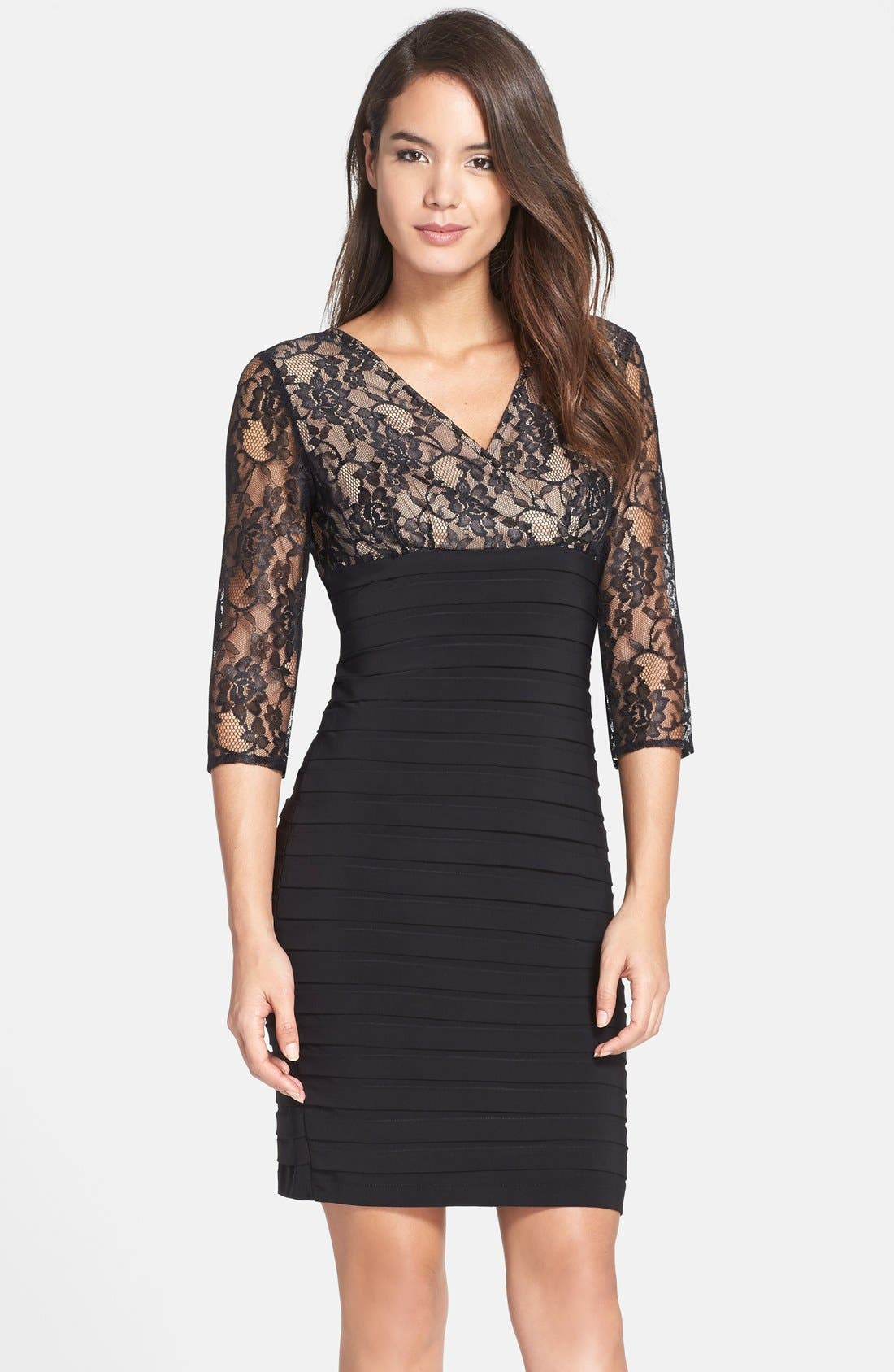 Alternate Image 1 Selected - Adrianna Papell Lace Bodice Banded Sheath Dress (Regular & Petite)