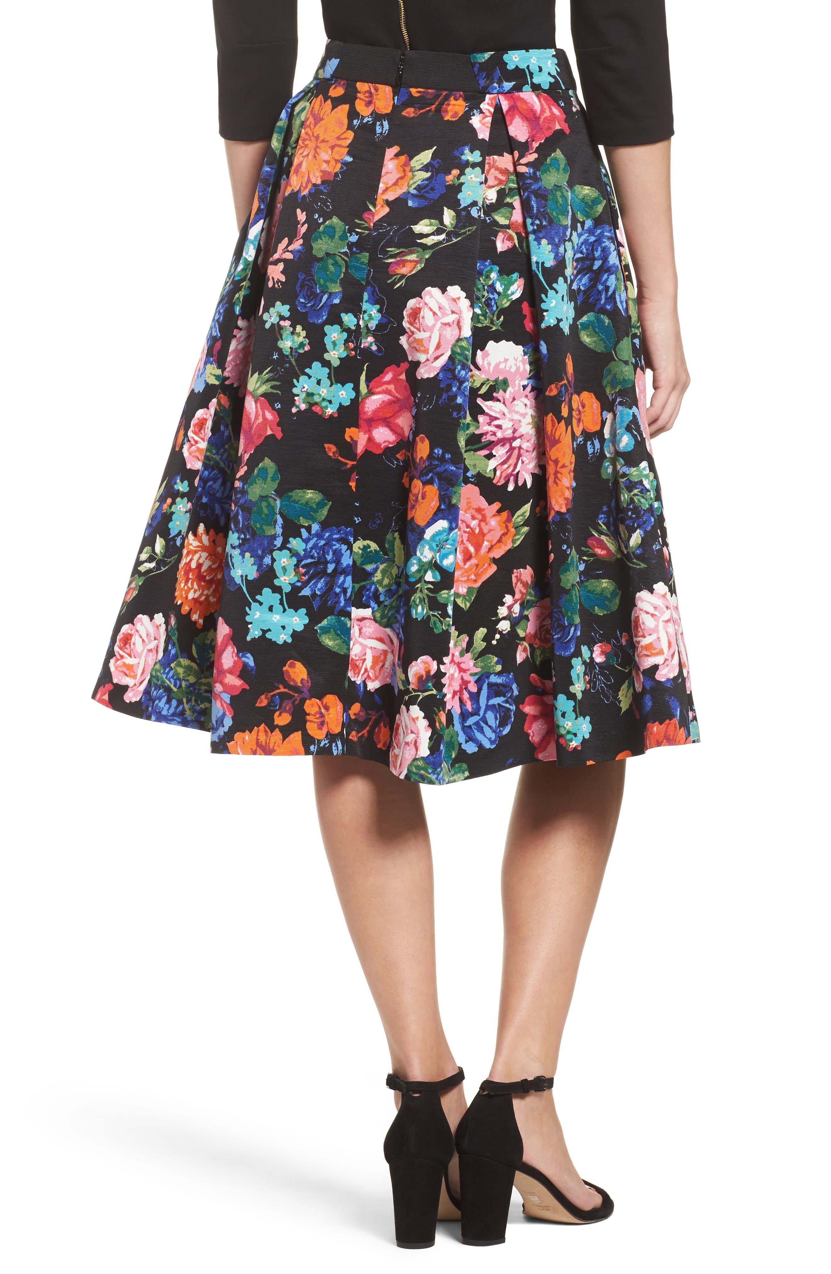 Floral Midi Skirt,                             Alternate thumbnail 2, color,                             Black/ Pink
