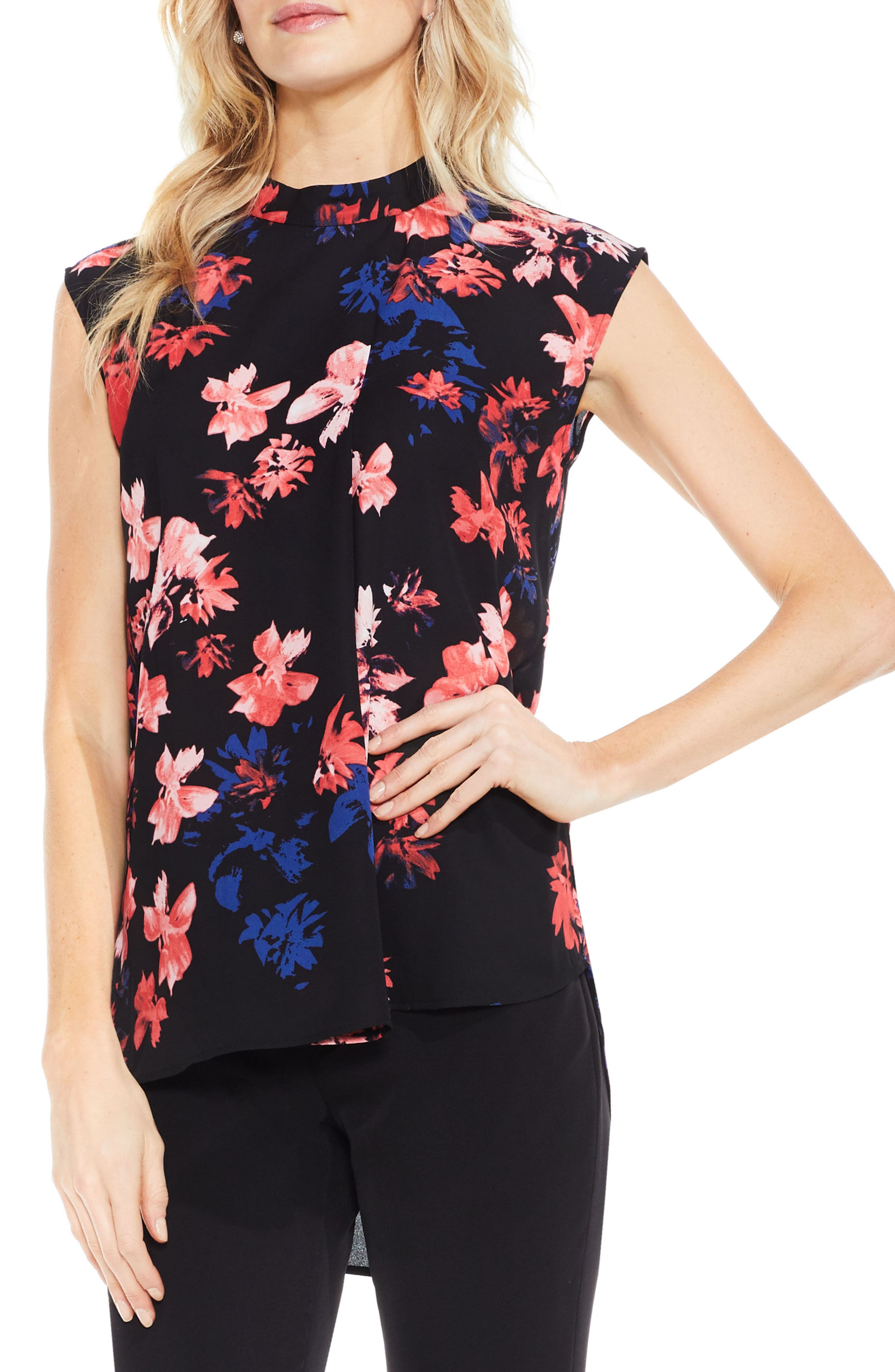 Vince Camuto Floral High/Low Blouse