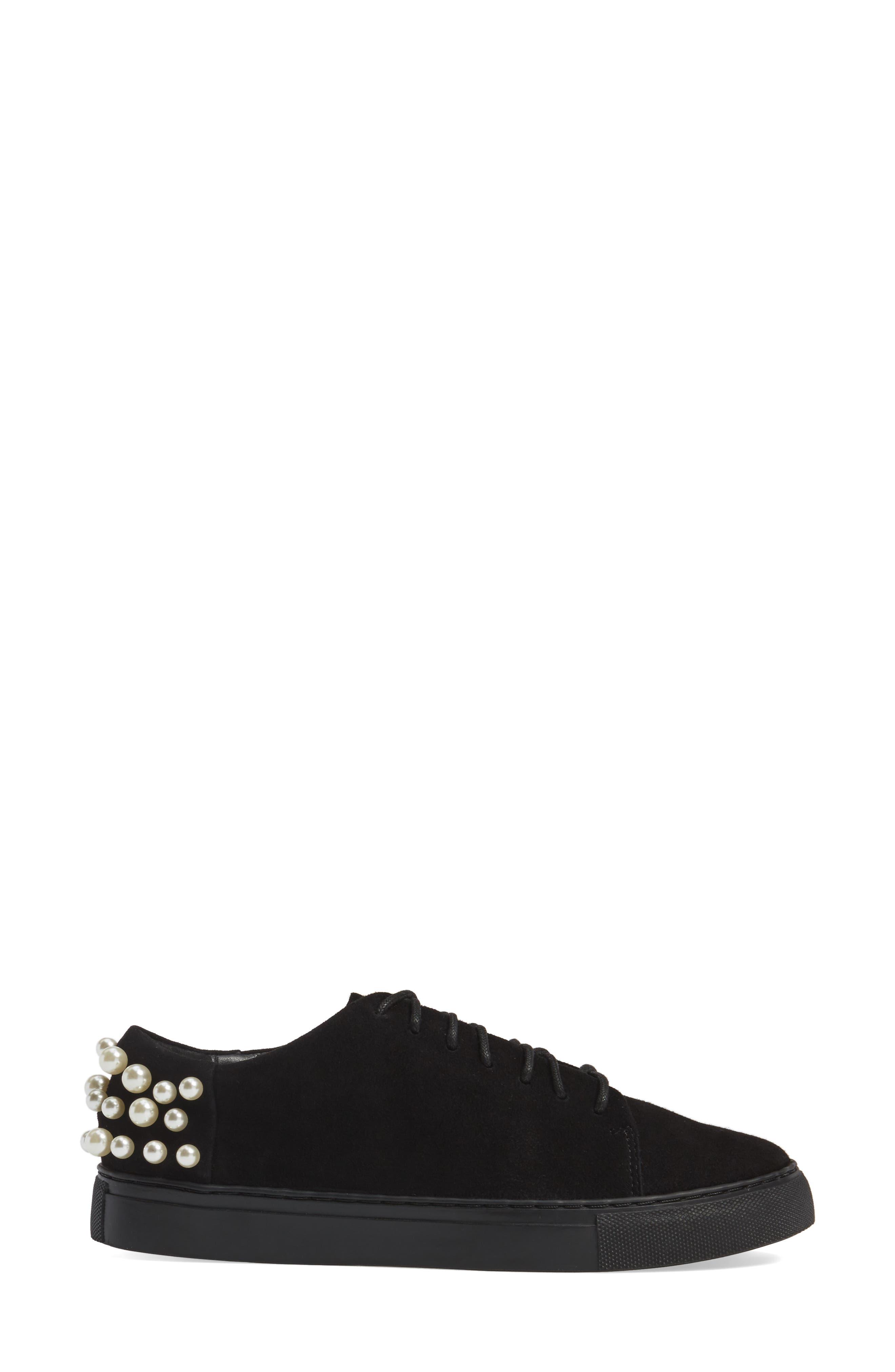 Haig Embellished Sneaker,                             Alternate thumbnail 3, color,                             Black
