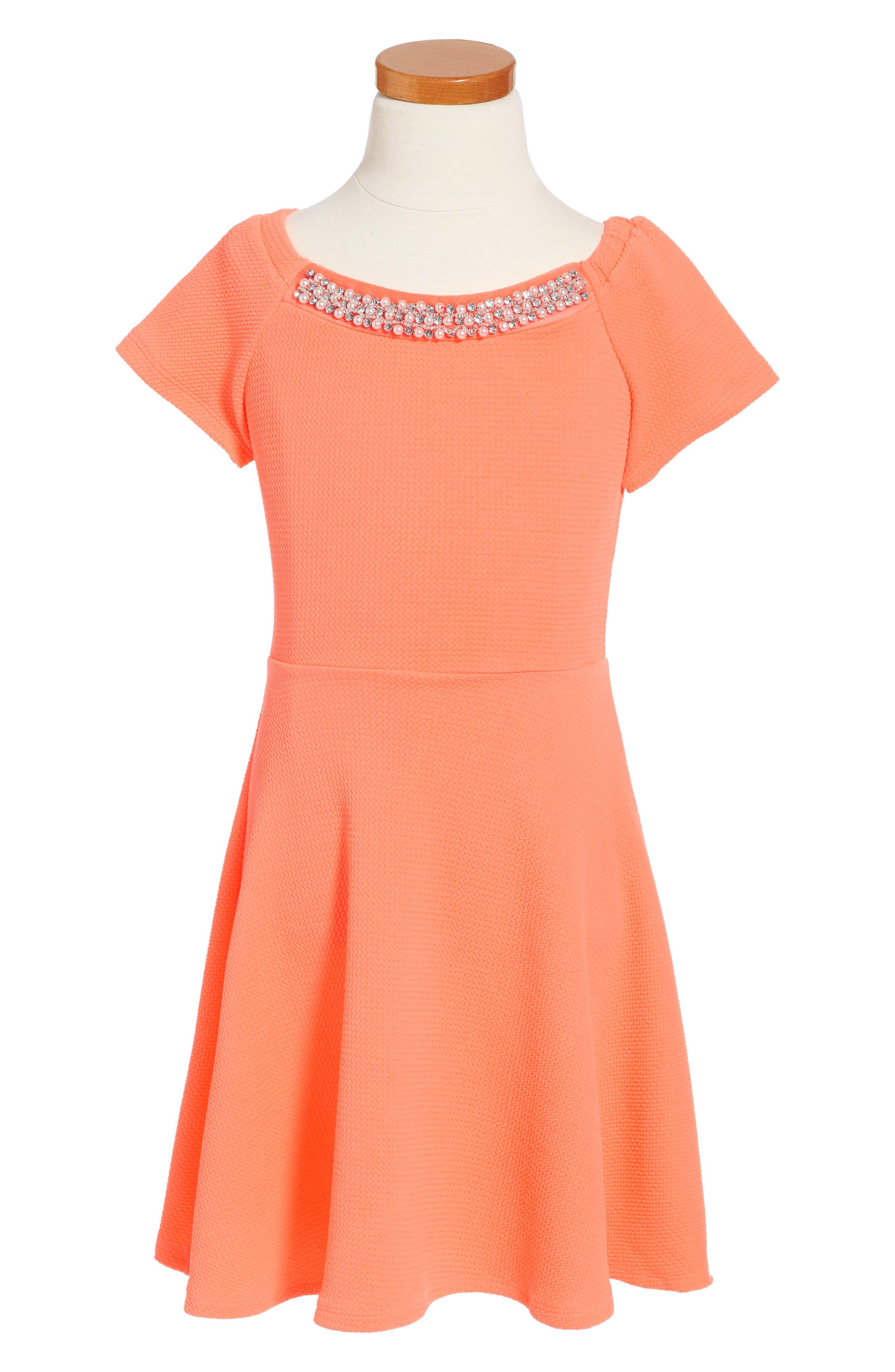 Skater Dress,                         Main,                         color, Bright Orange