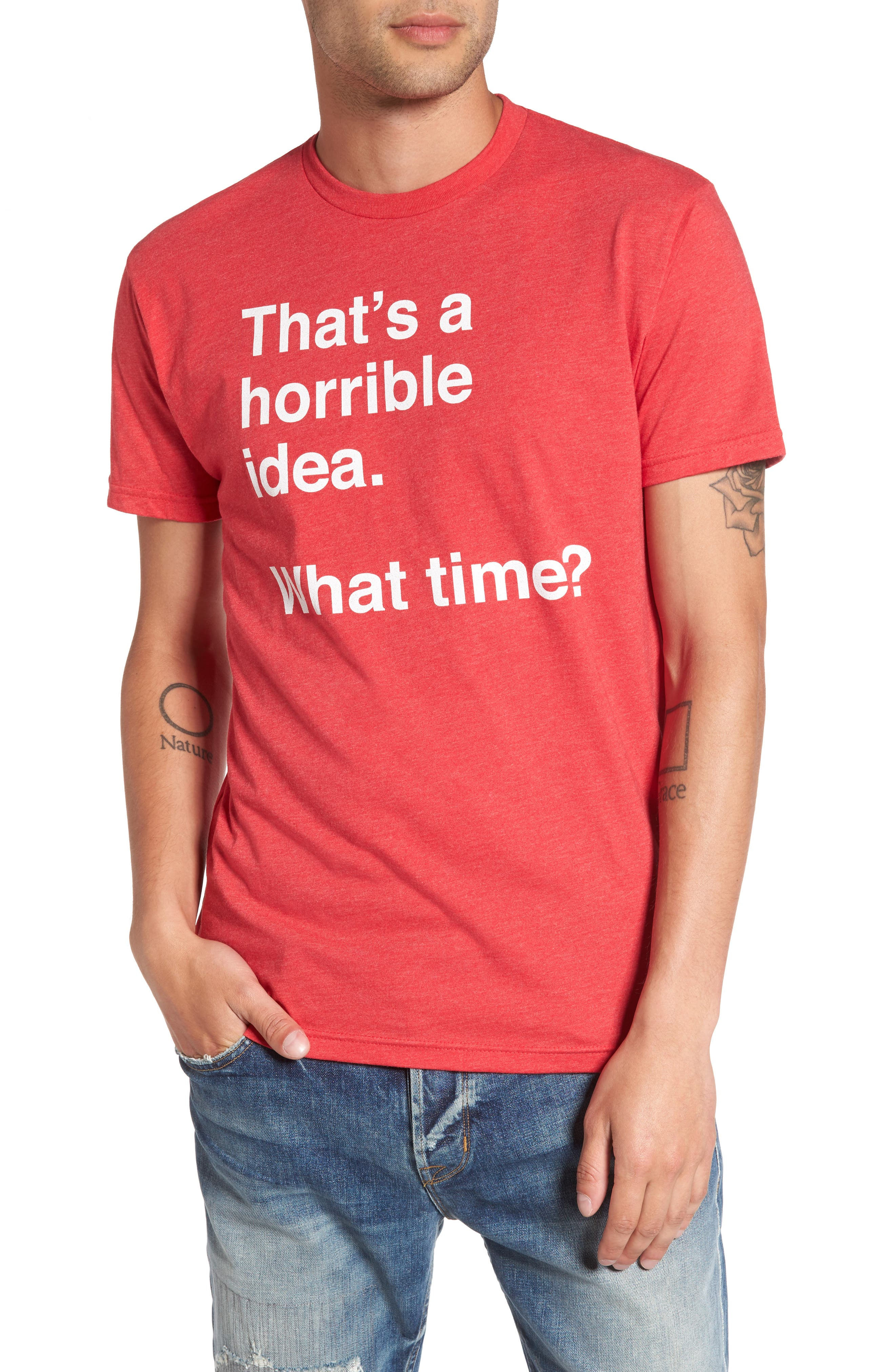 Horrible Idea Graphic T-Shirt,                             Main thumbnail 1, color,                             Red