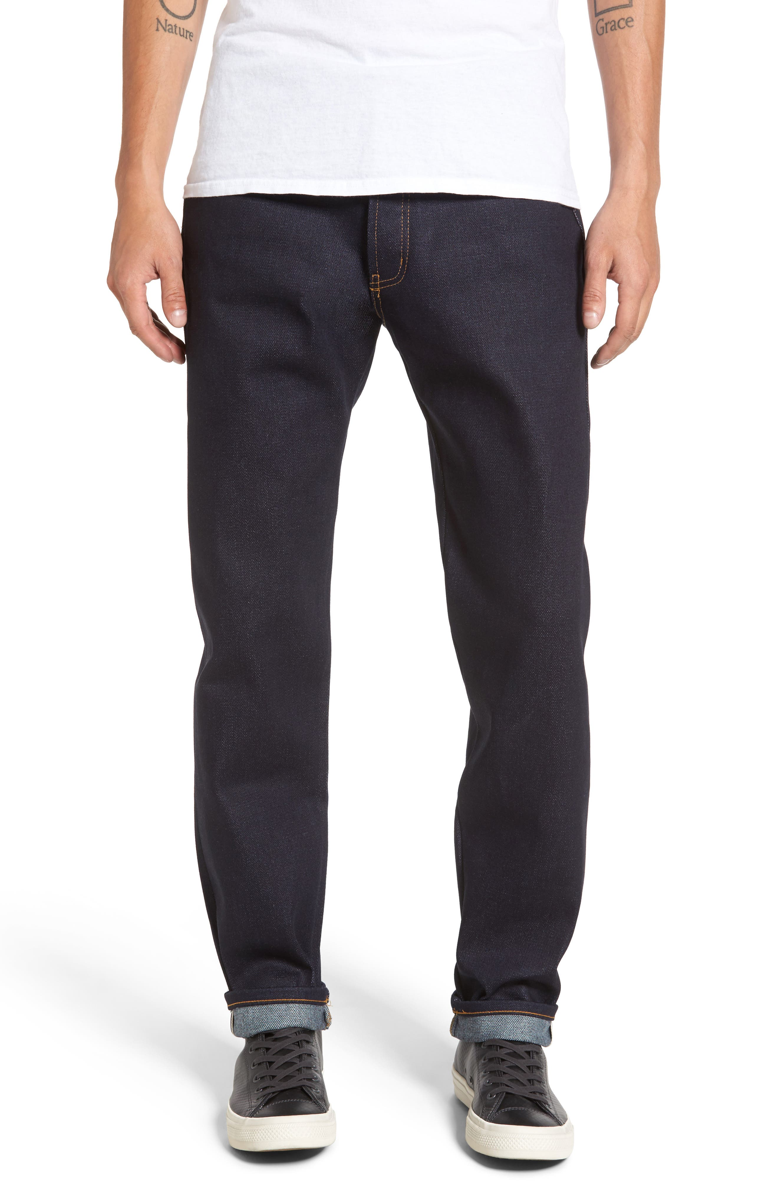 Alternate Image 1 Selected - Naked & Famous Denim Easy Guy Slouchy Skinny Fit Jeans (Elephant 6)