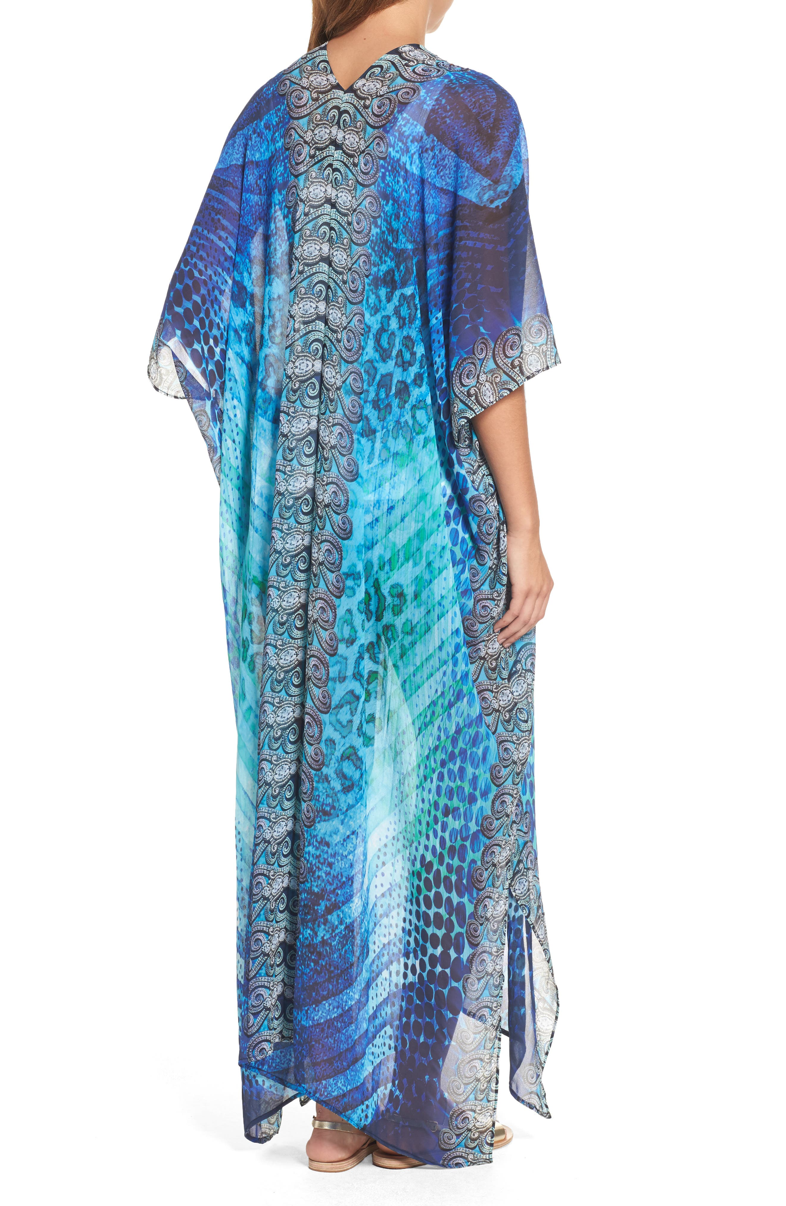 Santorini Desert Long Kaftan,                             Alternate thumbnail 2, color,                             Blue