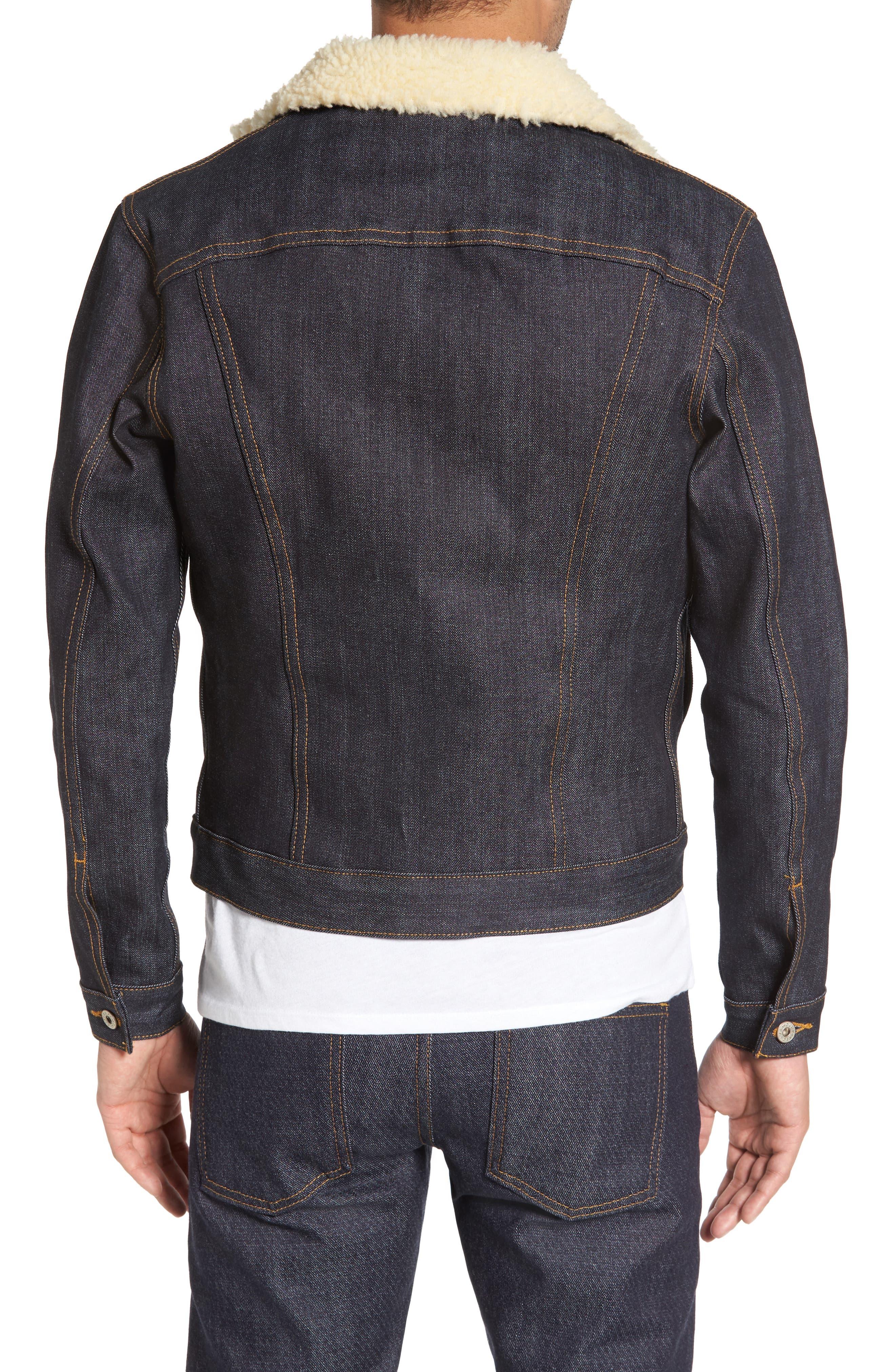 Faux Shearling Denim Jacket,                             Alternate thumbnail 2, color,                             Indigo