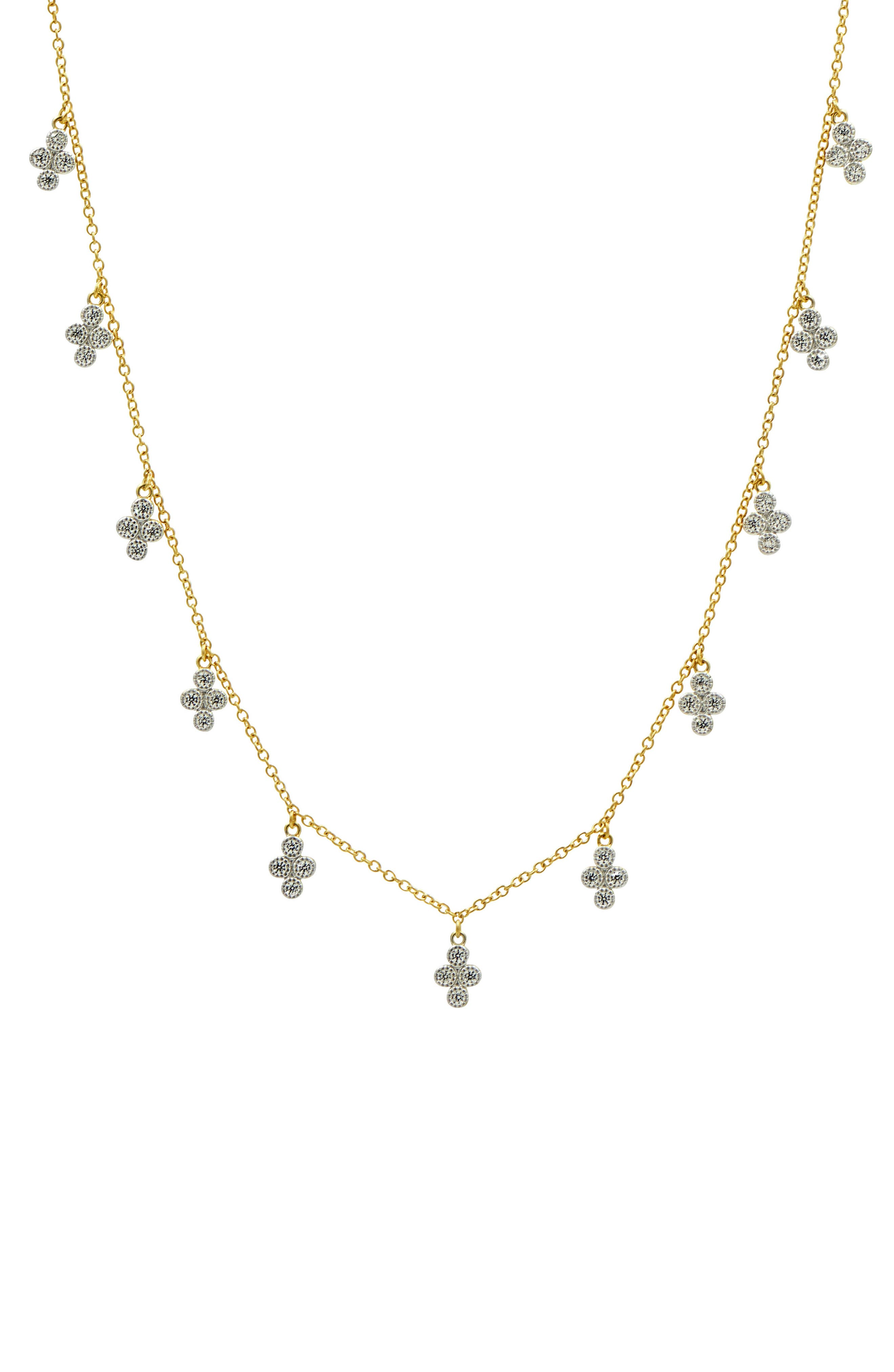 Clover Charm Station Neckalce,                         Main,                         color, Gold/ Silver