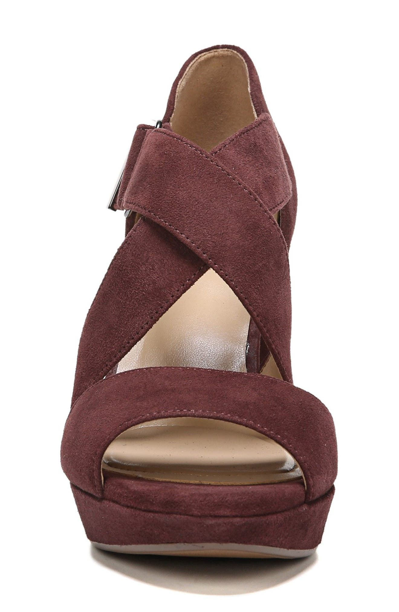 Harper Platform Sandal,                             Alternate thumbnail 4, color,                             Bordo Suede