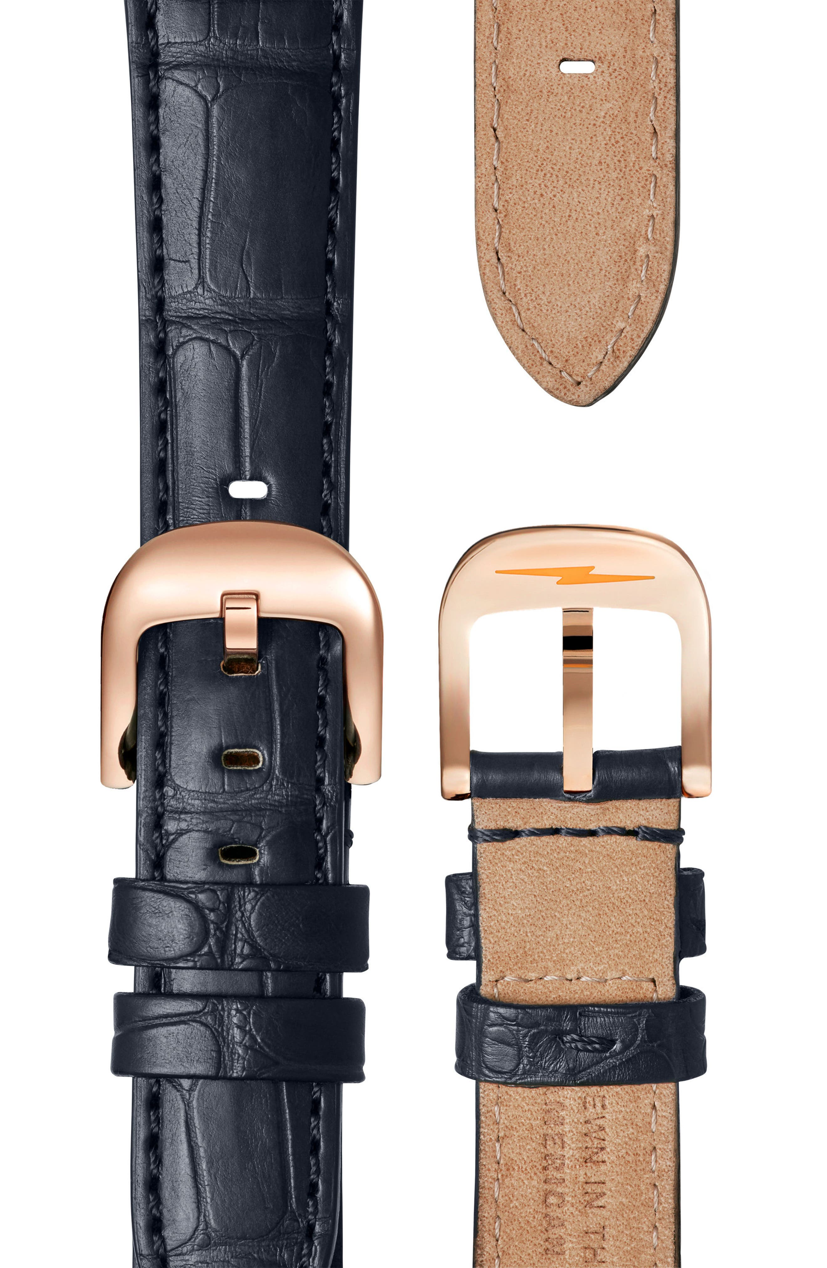 Gail Leather Strap Watch, 36mm,                             Alternate thumbnail 3, color,                             Navy/ Silver/ Rose Gold
