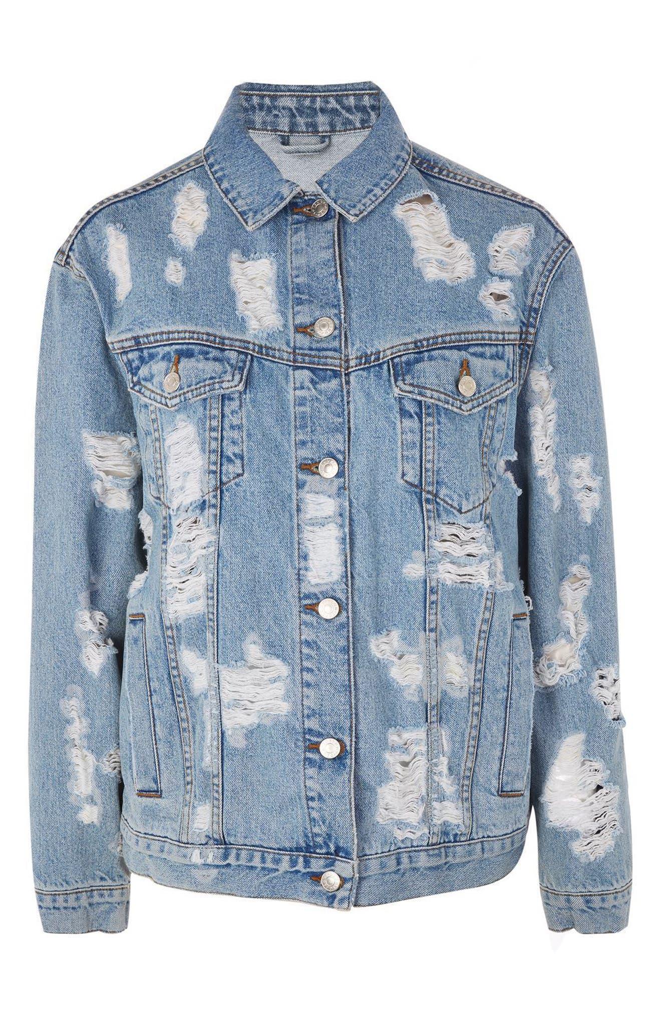 Alternate Image 4  - Topshop Ripped Denim Jacket