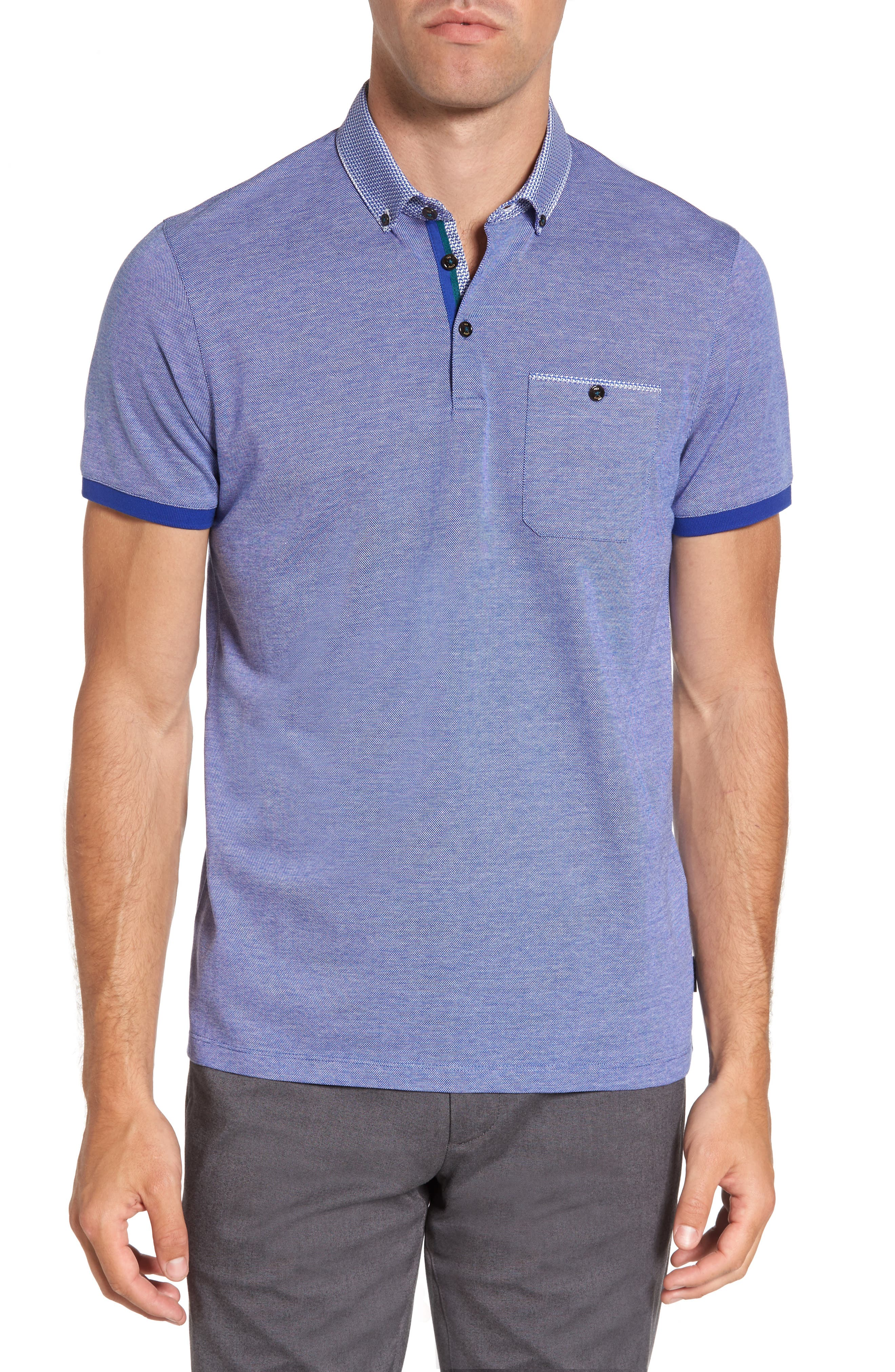 Leeds Oxford Modern Slim Fit Polo,                             Main thumbnail 1, color,                             Blue