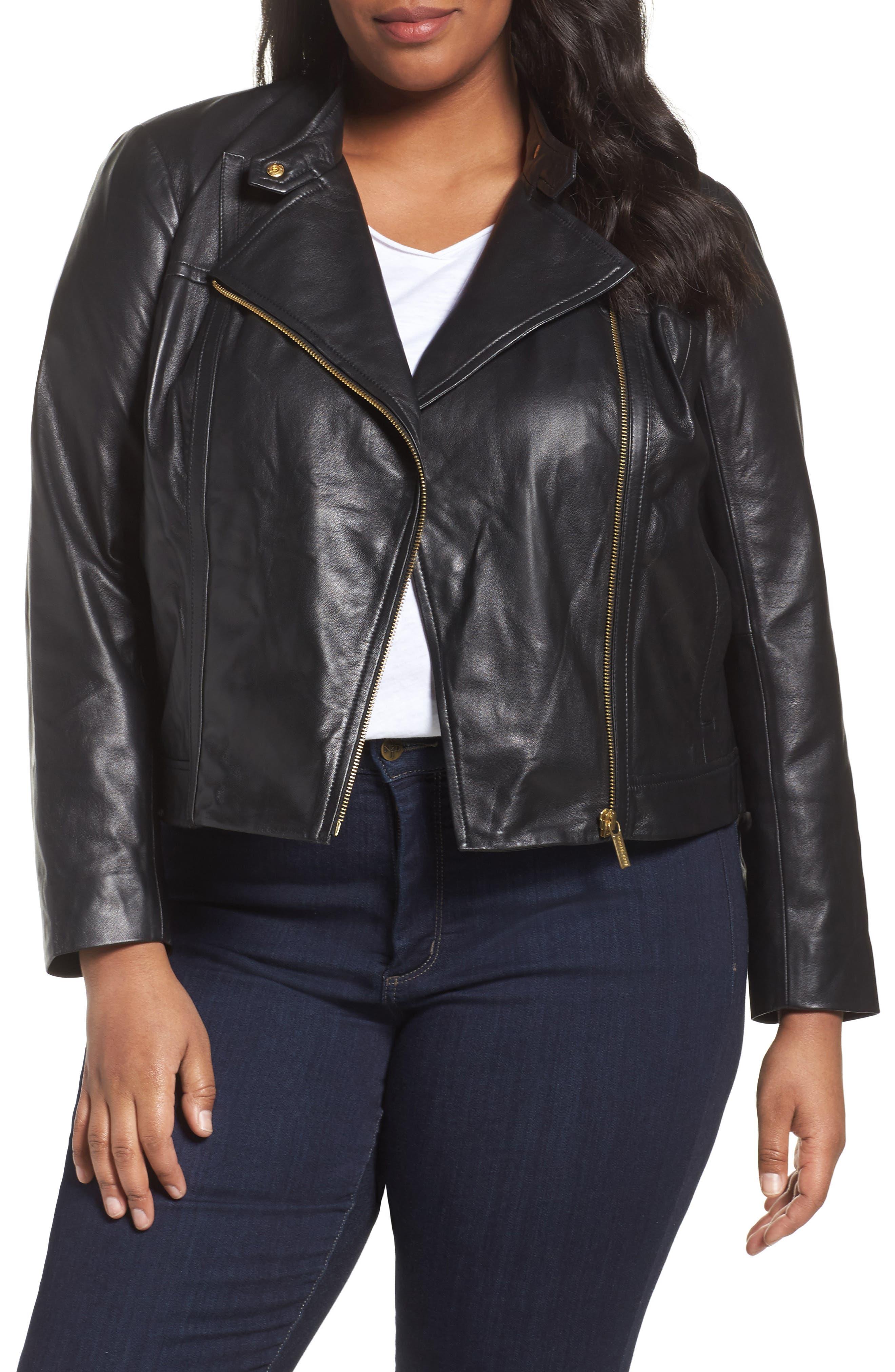 Crop Leather Jacket,                         Main,                         color, Black/ Gold