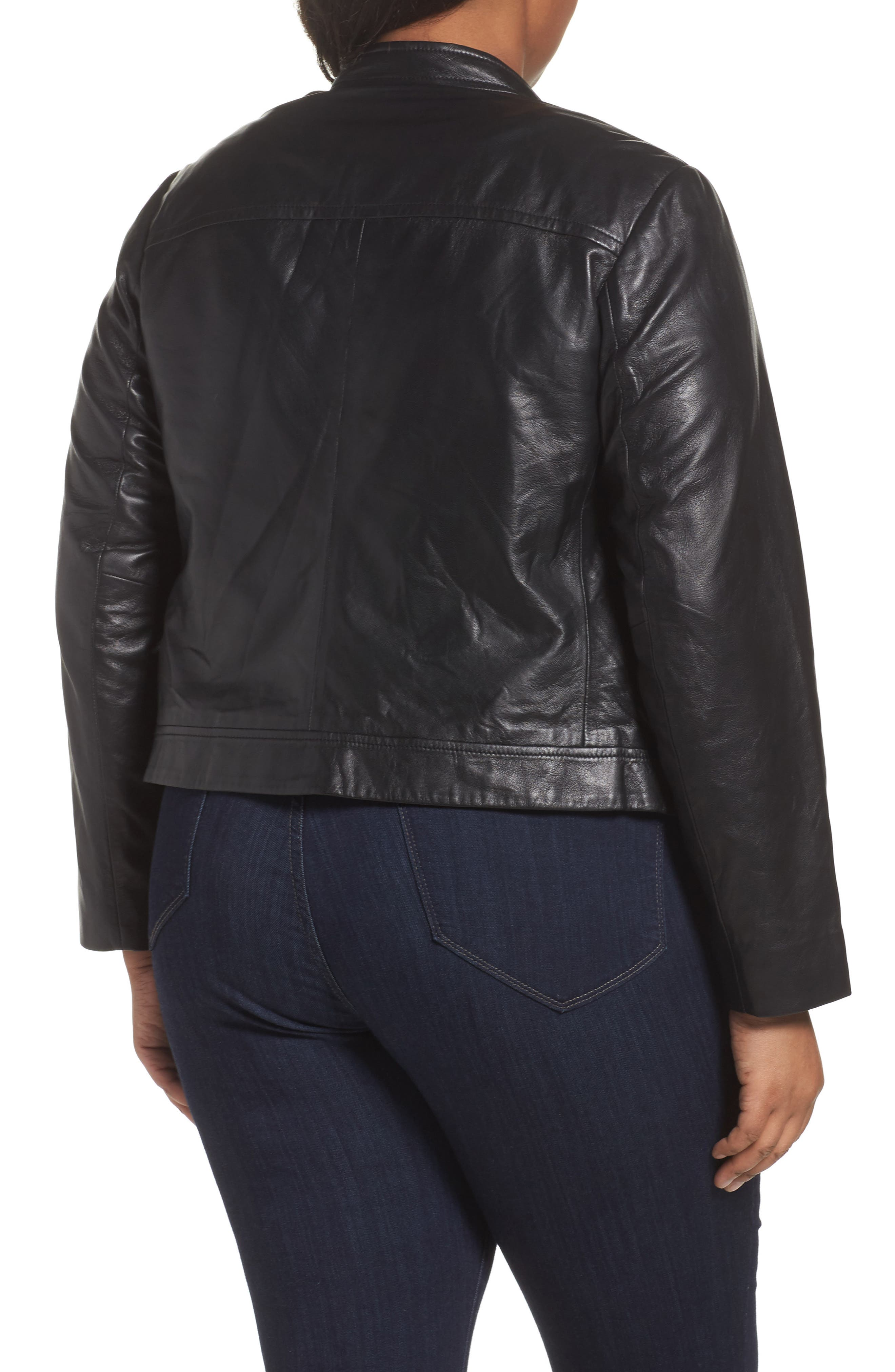 Alternate Image 2  - MICHAEL Michael Kors Crop Leather Jacket (Plus Size)