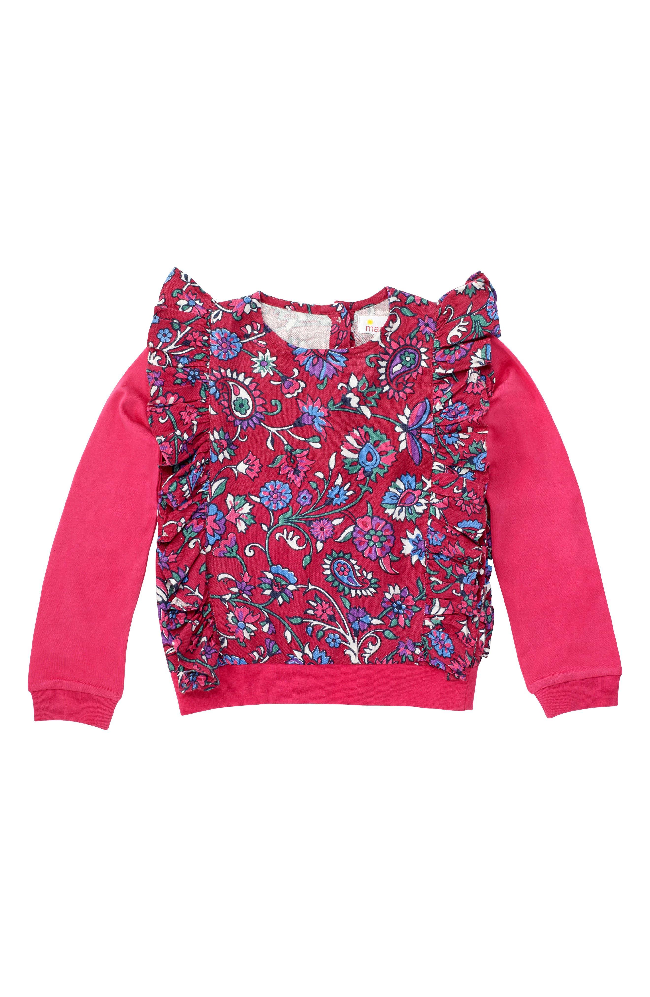 Main Image - Masalababy Floral Ruffle Top (Toddler Girls, Little Girls & Big Girls)