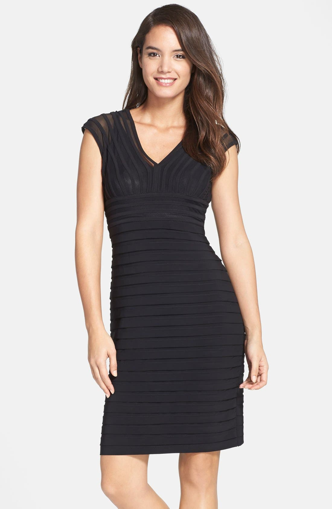 Alternate Image 1 Selected - Adrianna Papell Shutter Pleat Jersey Sheath Dress (Regular & Petite) (Nordstrom Exclusive)