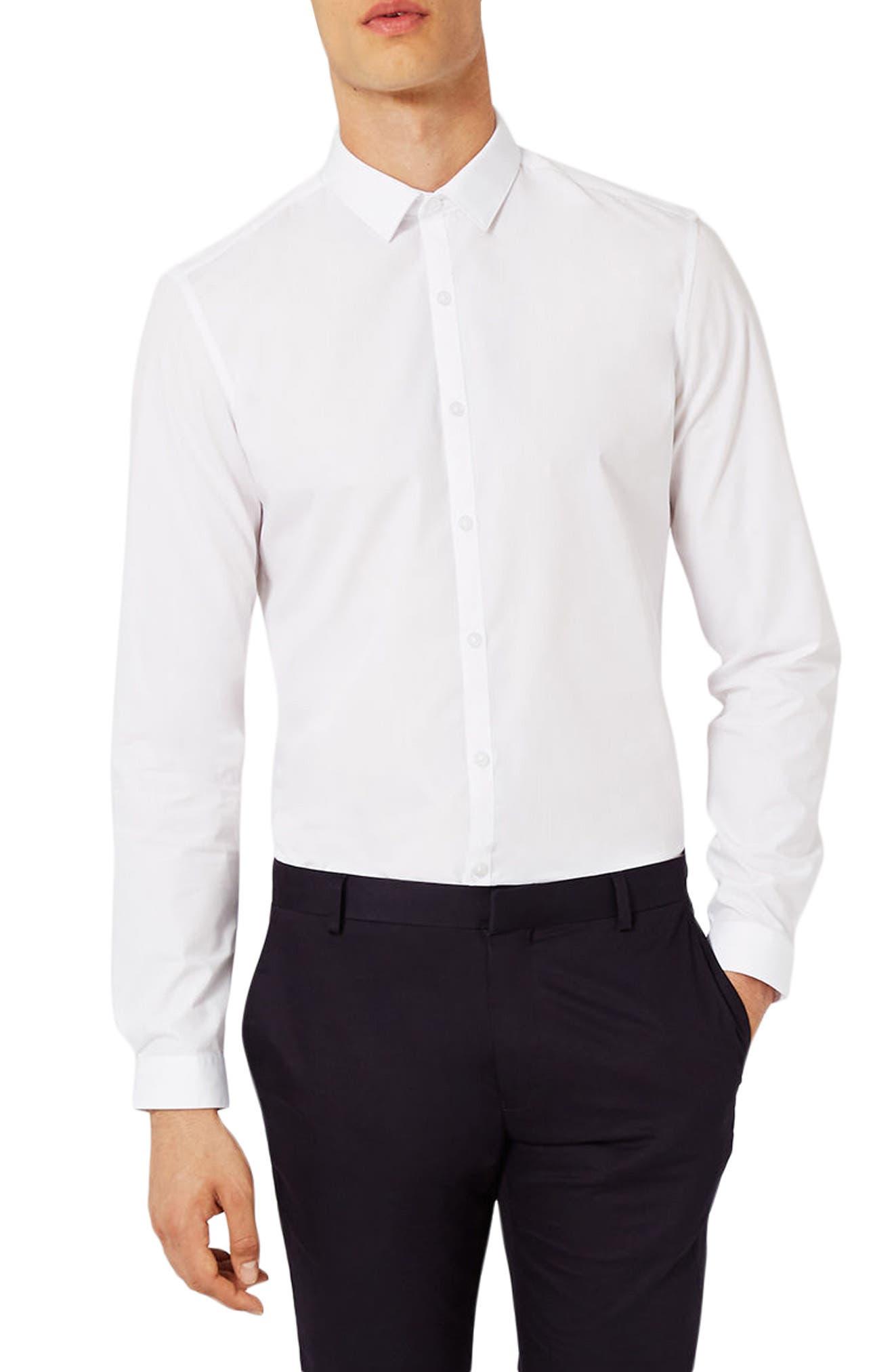 Slim Fit Dress Shirt,                             Alternate thumbnail 2, color,                             White