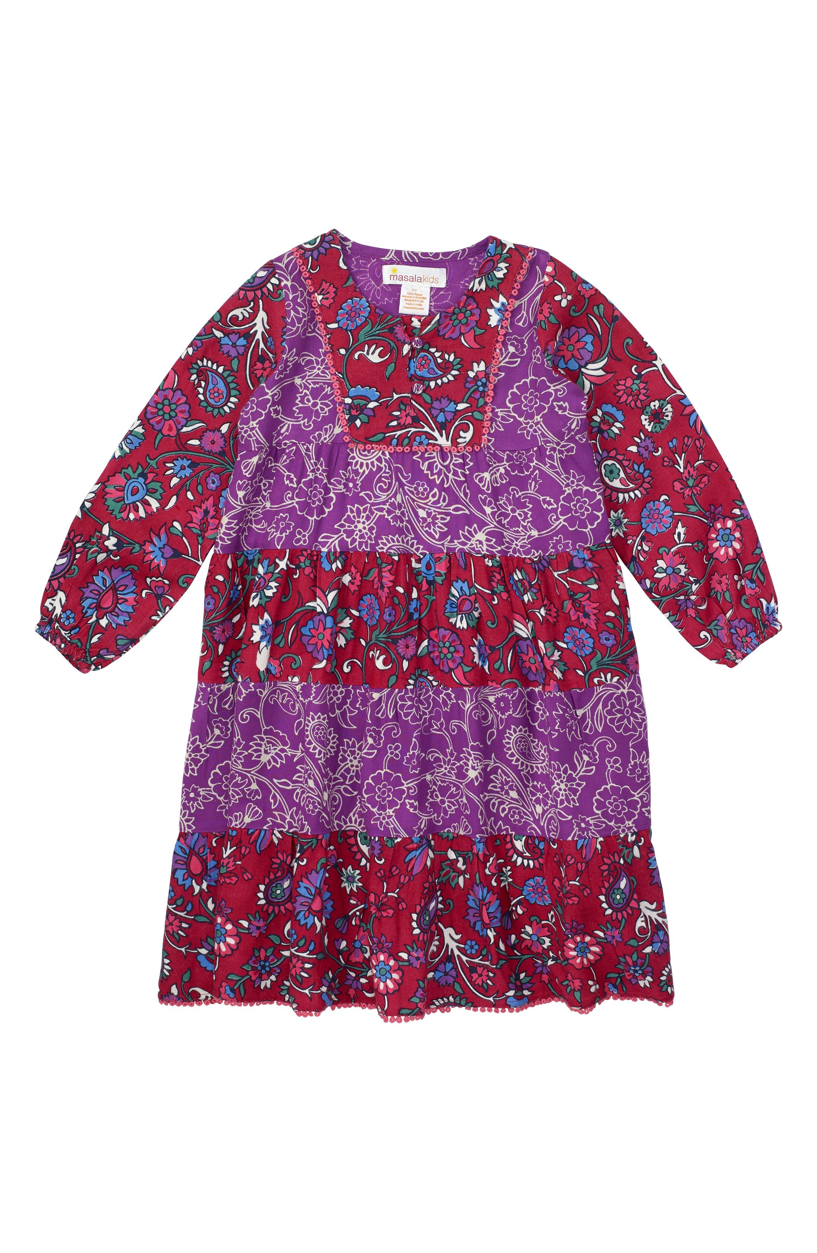 Tiered Floral Dress,                         Main,                         color, Purple Multi