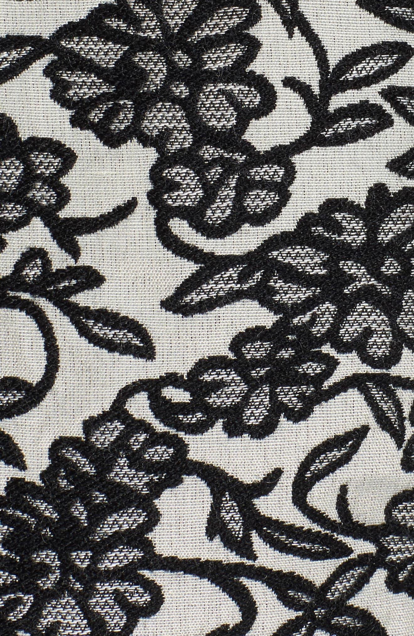 Addie Floral Brocade Bomber Jacket,                             Alternate thumbnail 5, color,                             Black