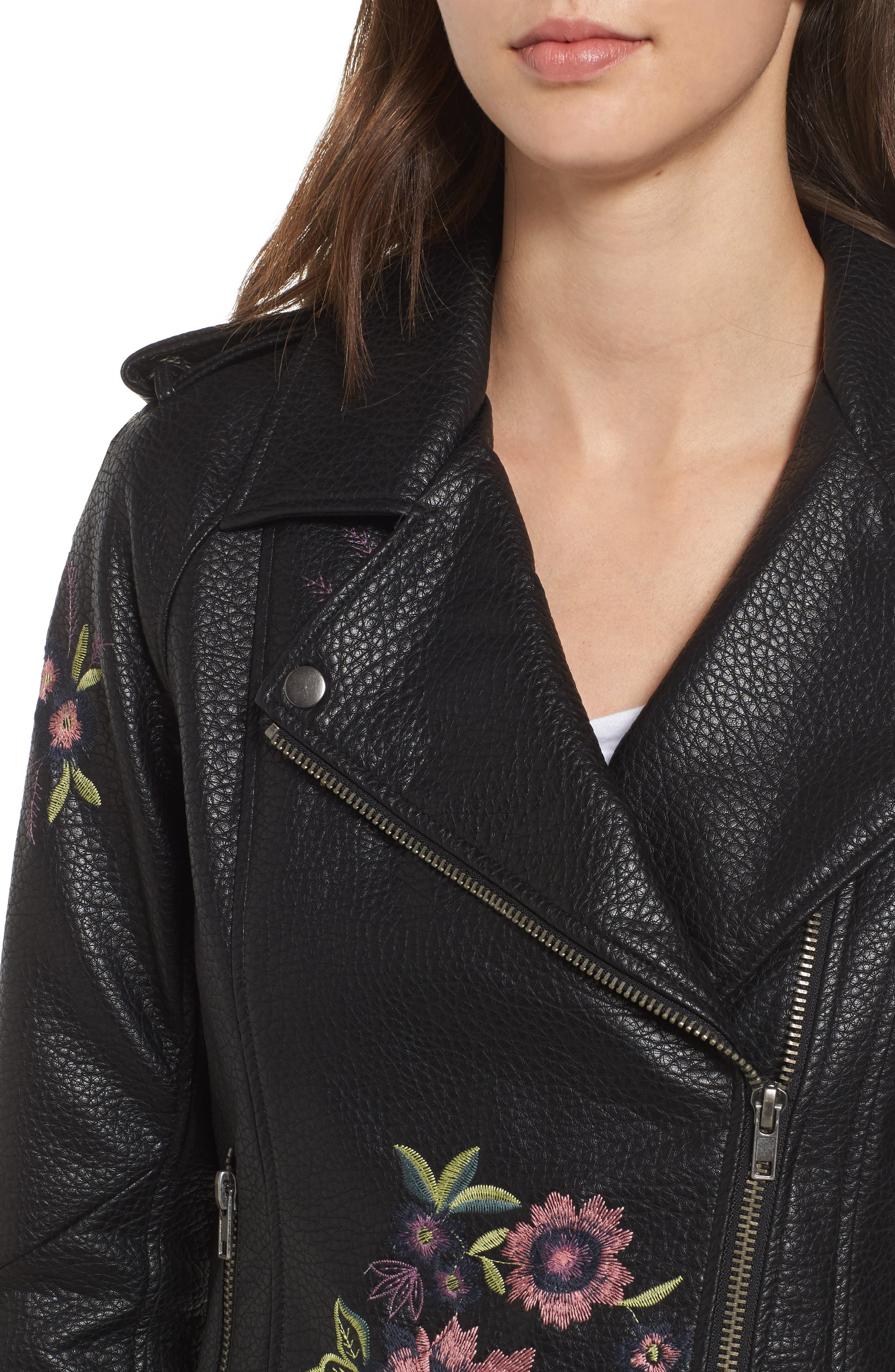 Baxley Embroidered Faux Leather Moto Jacket,                             Alternate thumbnail 4, color,                             Black