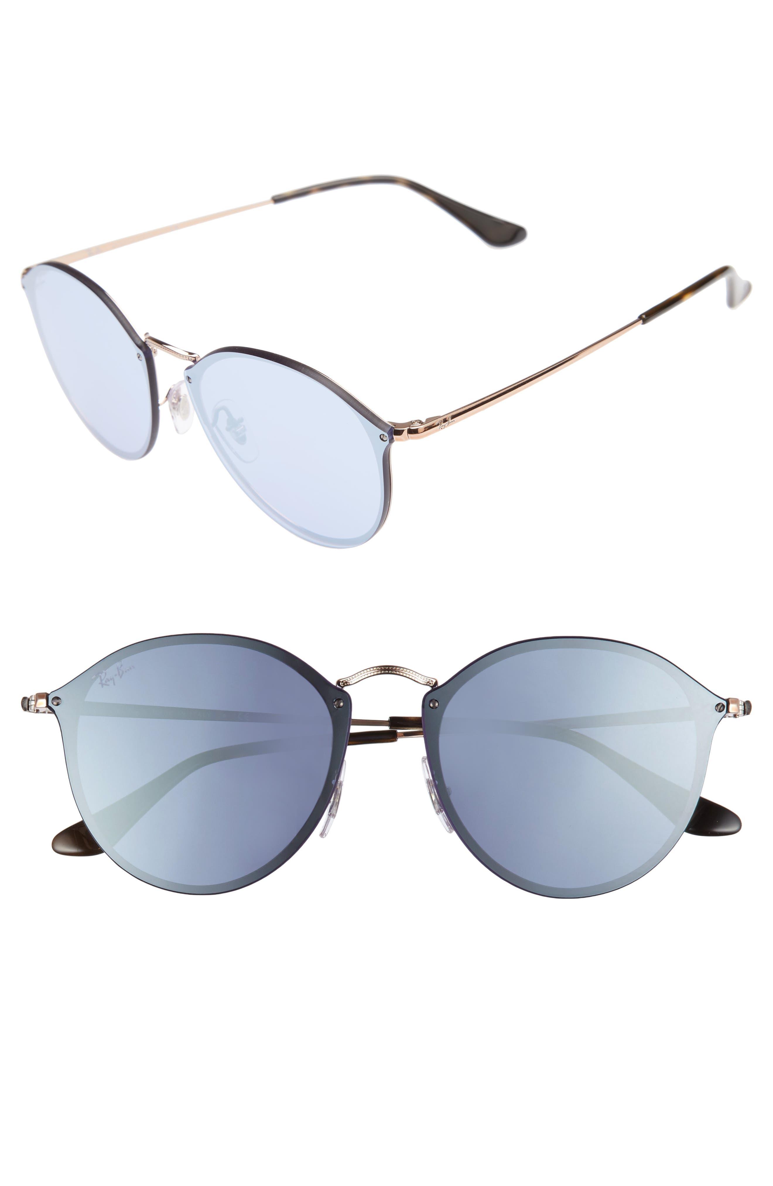 59mm Blaze Round Mirrored Sunglasses,                         Main,                         color, Copper