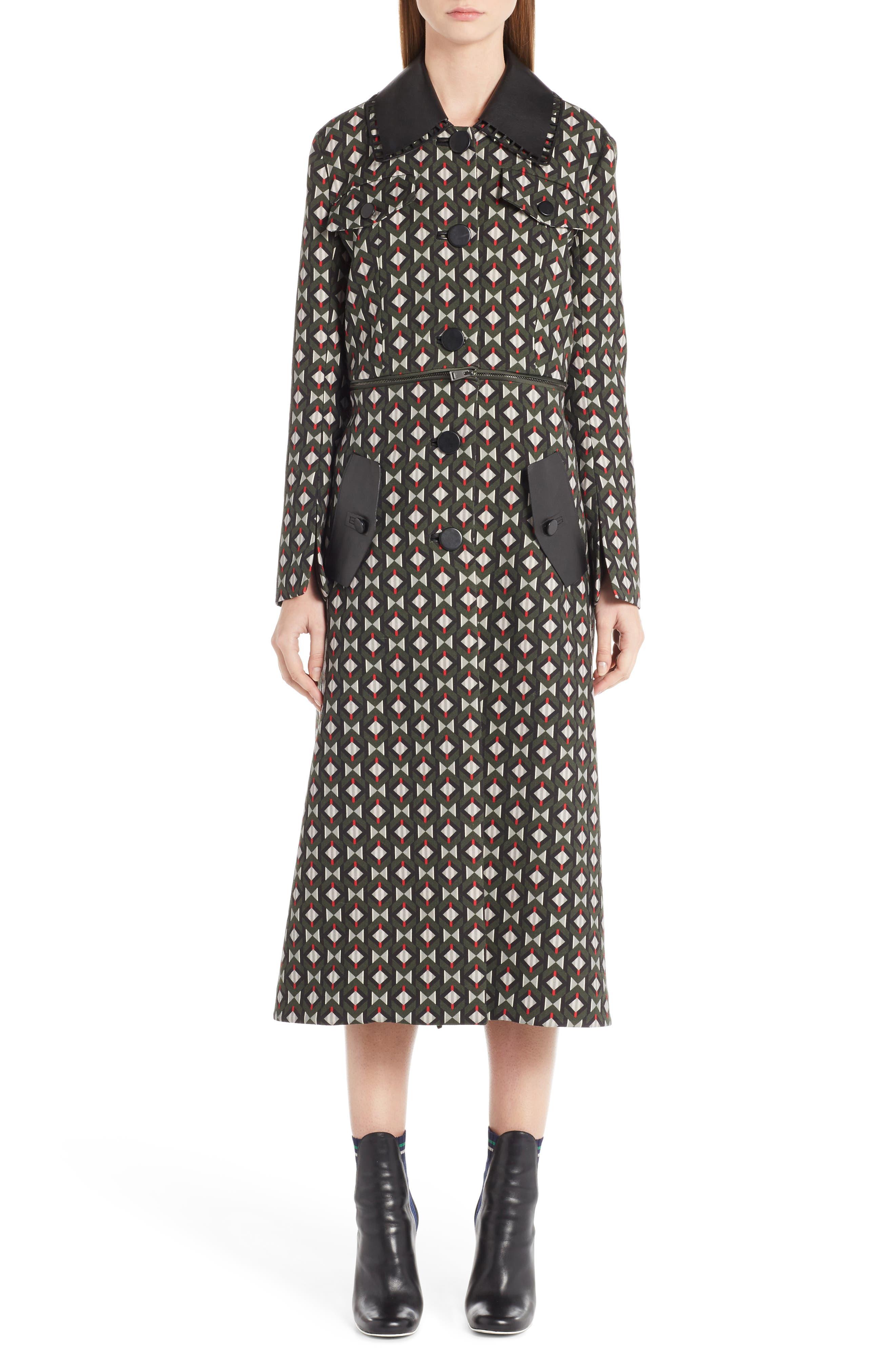 Fendi Double Face Wool & Silk Coat with Zip-Off Hem