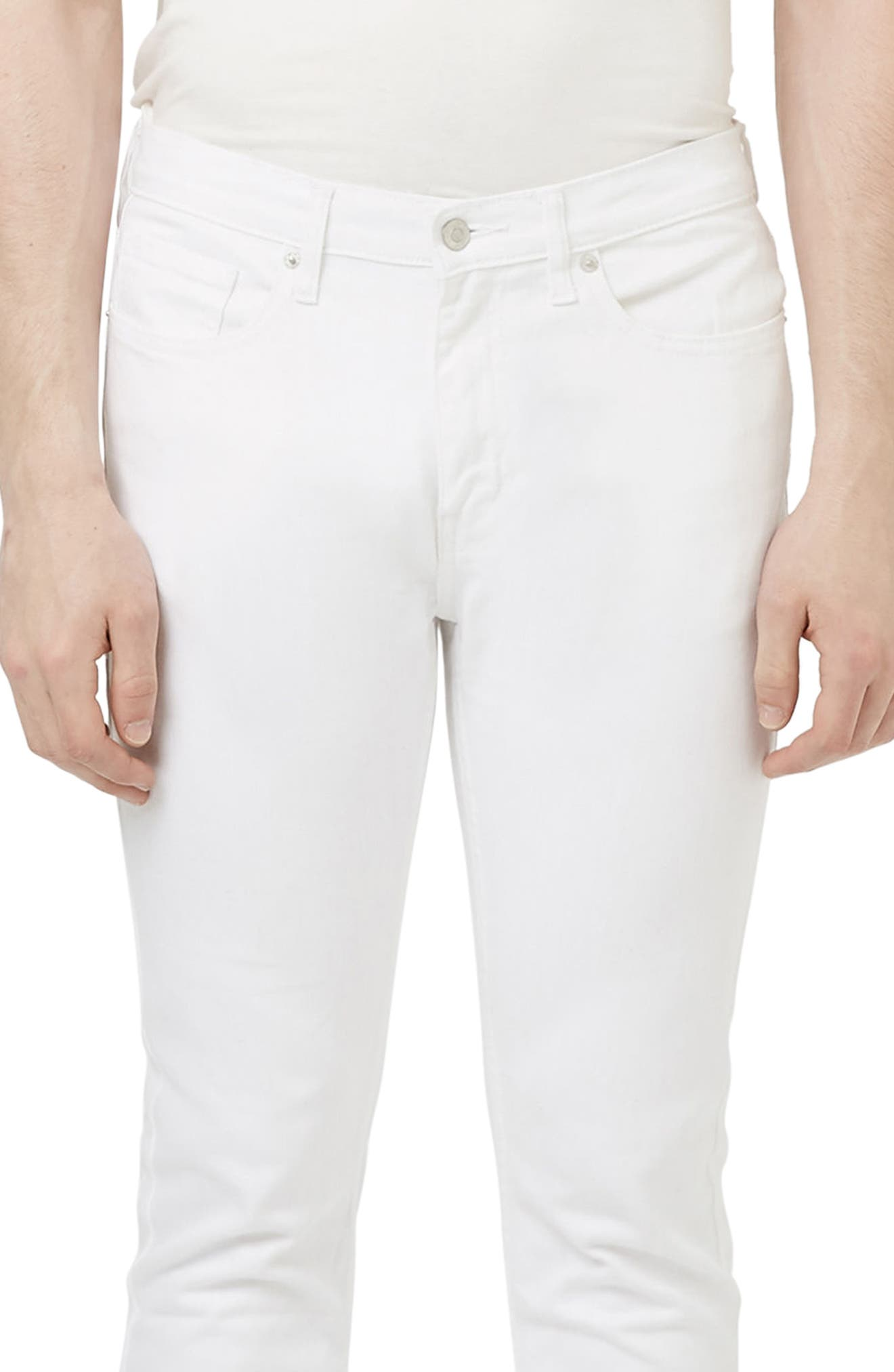 Stretch Skinny Fit Jeans,                             Alternate thumbnail 4, color,                             White