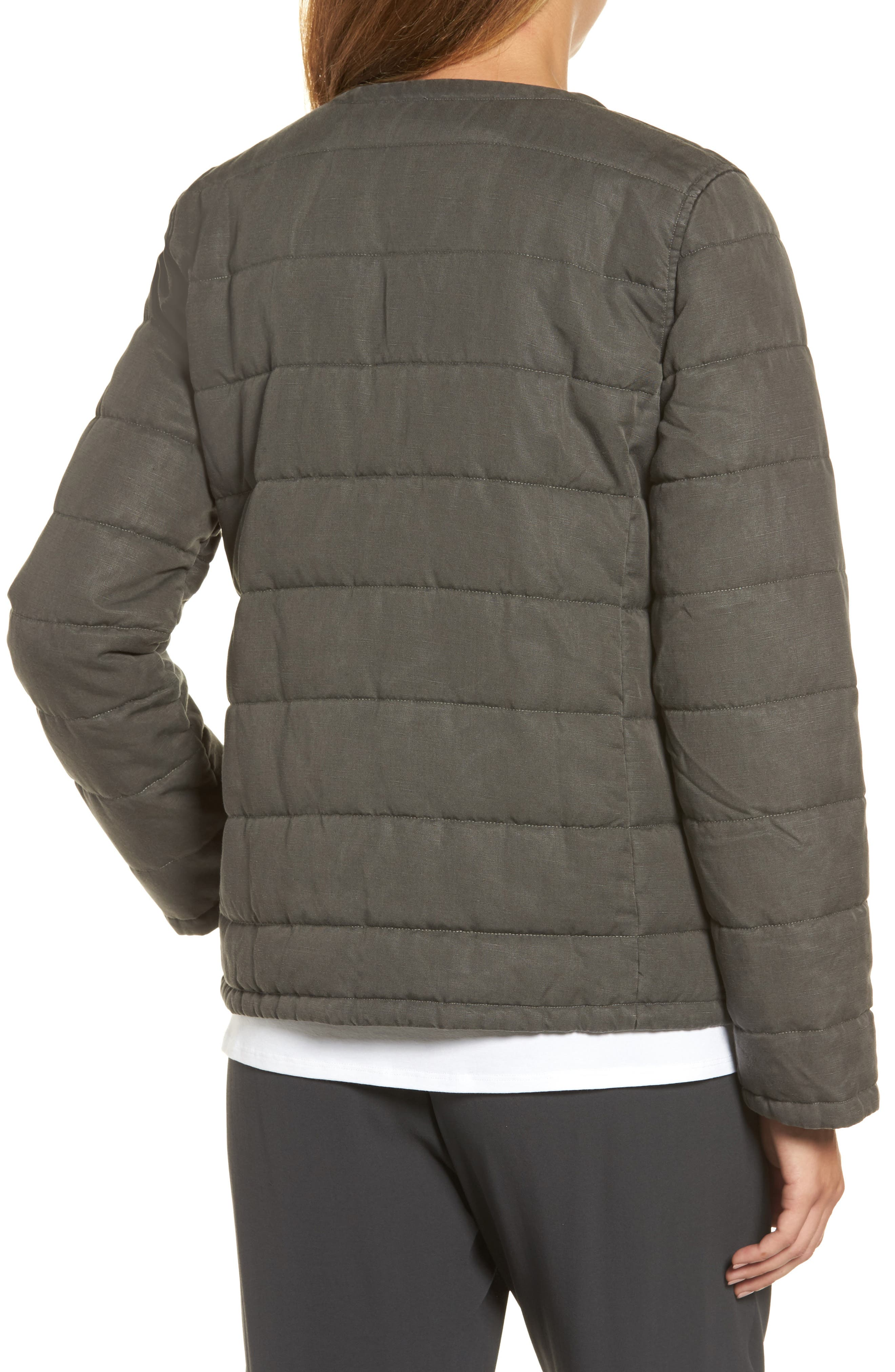 Collarless Quilted Jacket,                             Alternate thumbnail 2, color,                             Bark