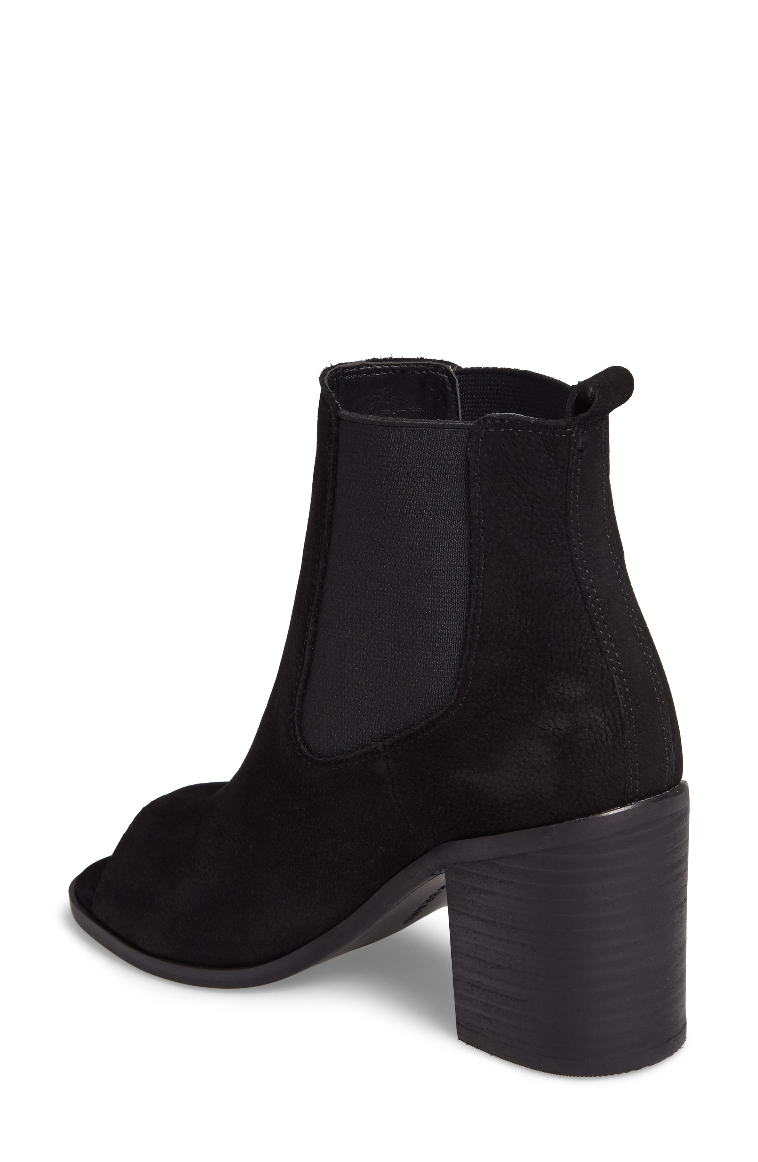 Kassidy Open Toe Chelsea Bootie,                             Alternate thumbnail 2, color,                             Black Leather
