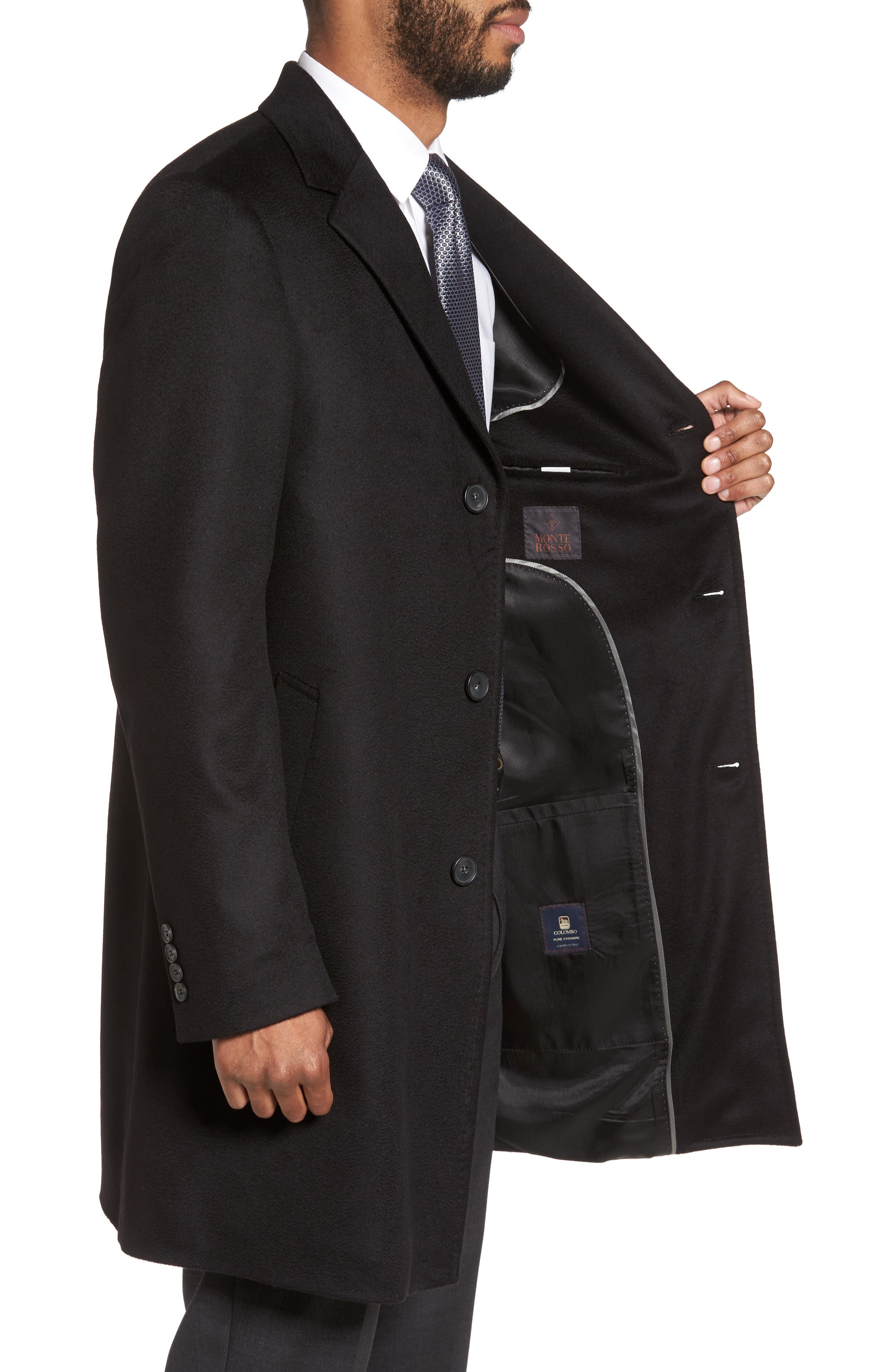 Carter Classic Fit Cashmere Overcoat,                             Alternate thumbnail 3, color,                             Black
