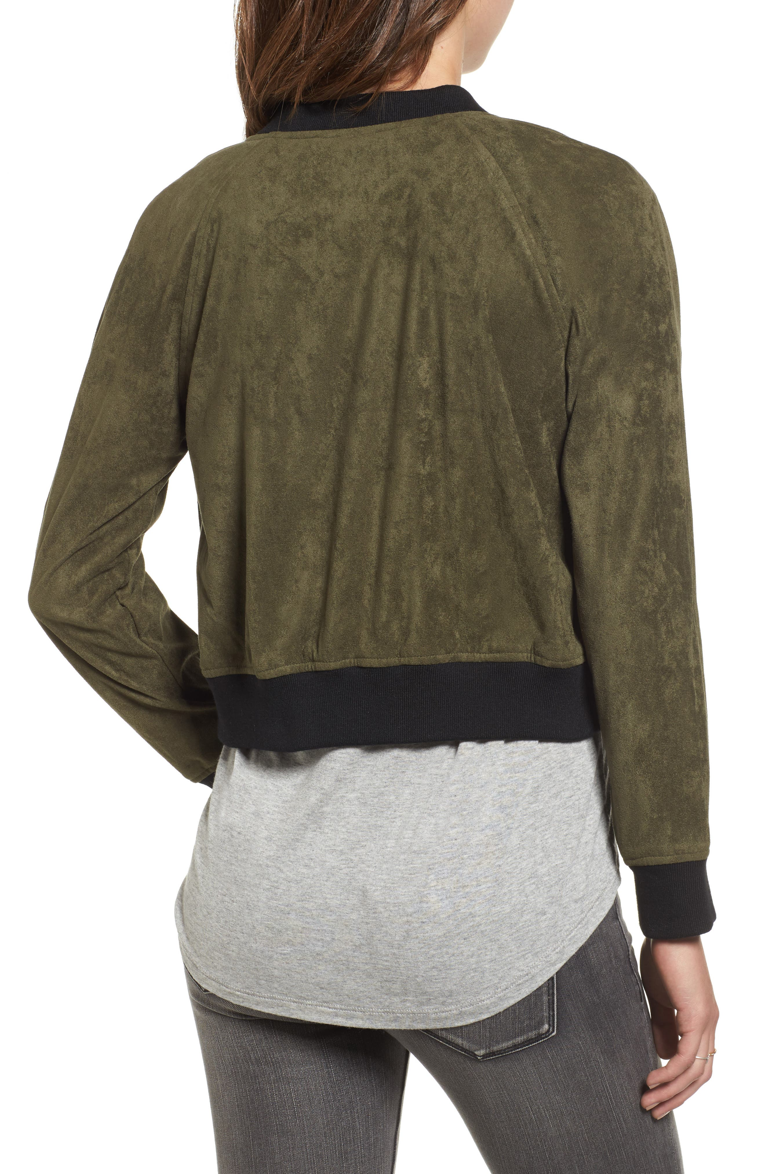 Ellie Faux Suede Bomber Jacket,                             Alternate thumbnail 2, color,                             Sage