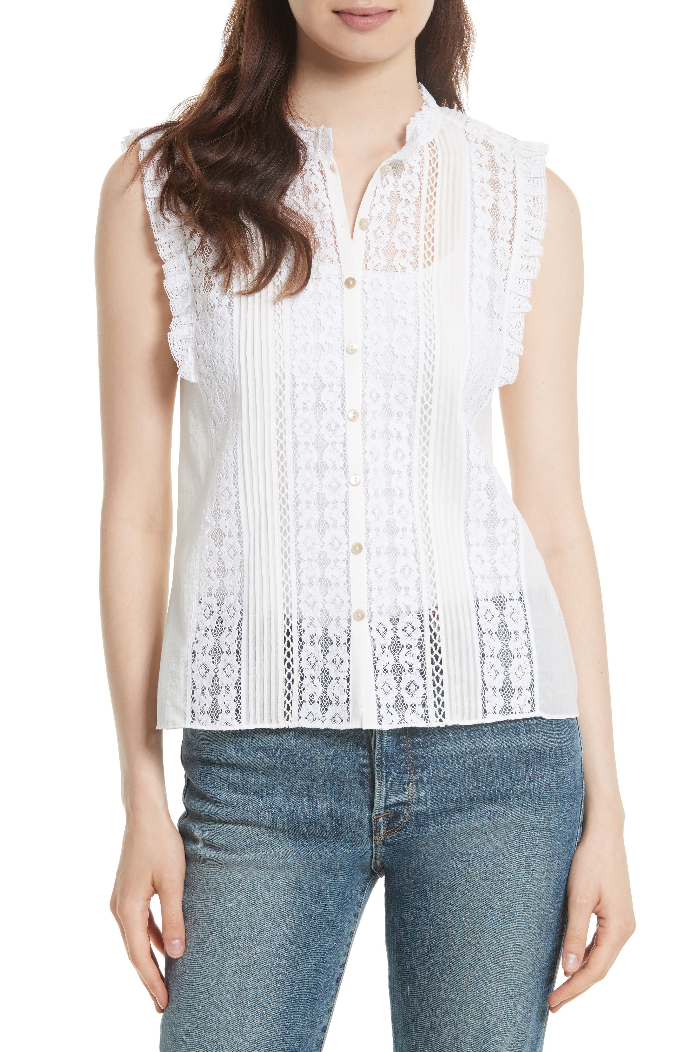 Voile & Lace Top,                         Main,                         color, Milk