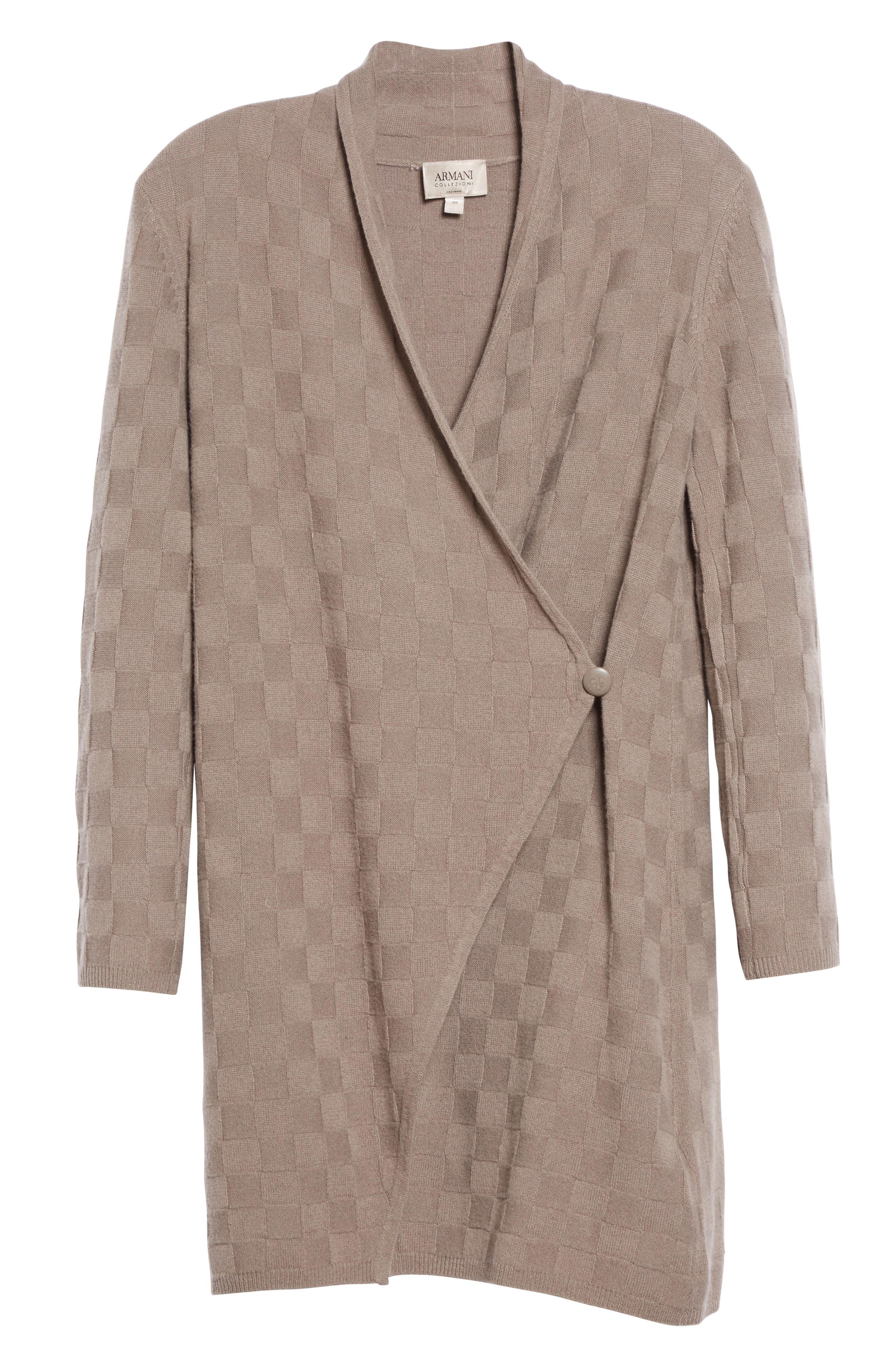 Alternate Image 4  - Armani Collezioni Checkerboard Cashmere Drape Cardigan