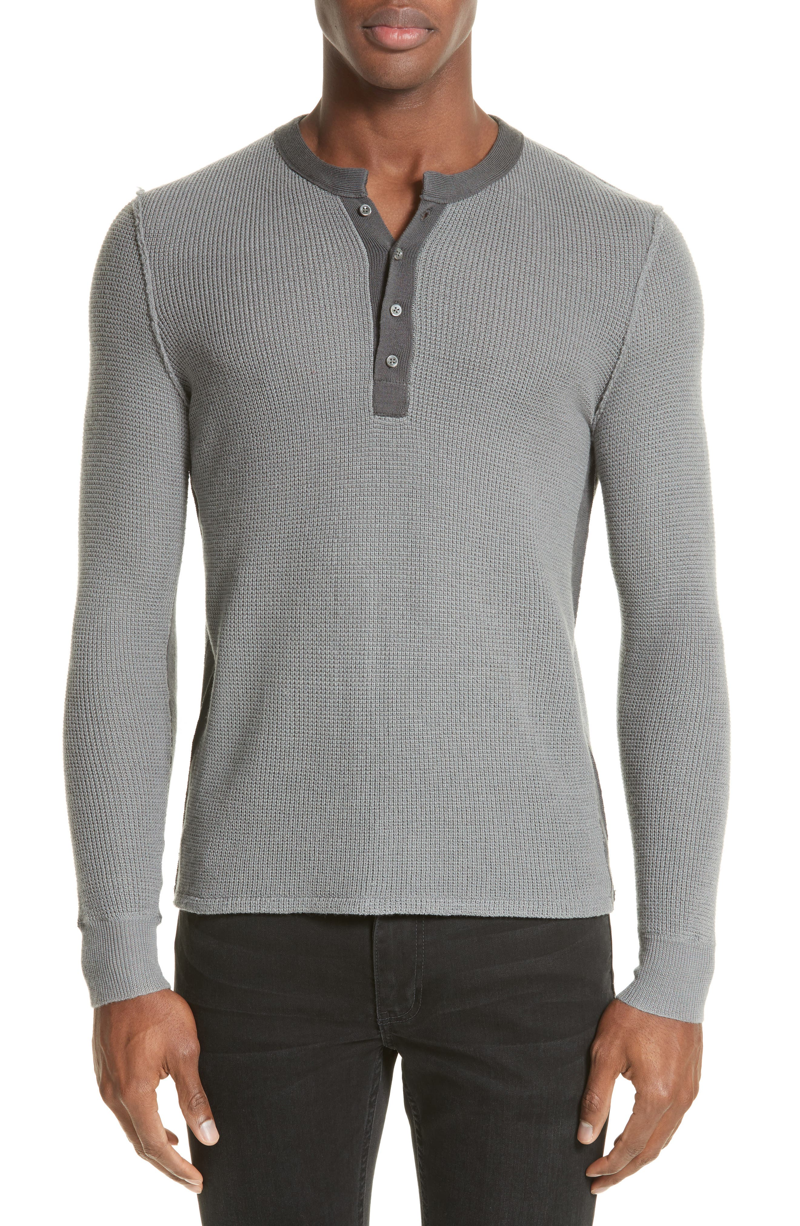 Zack Two-Tone Waffle Knit Wool Henley,                             Main thumbnail 1, color,                             Cement/ Carbon